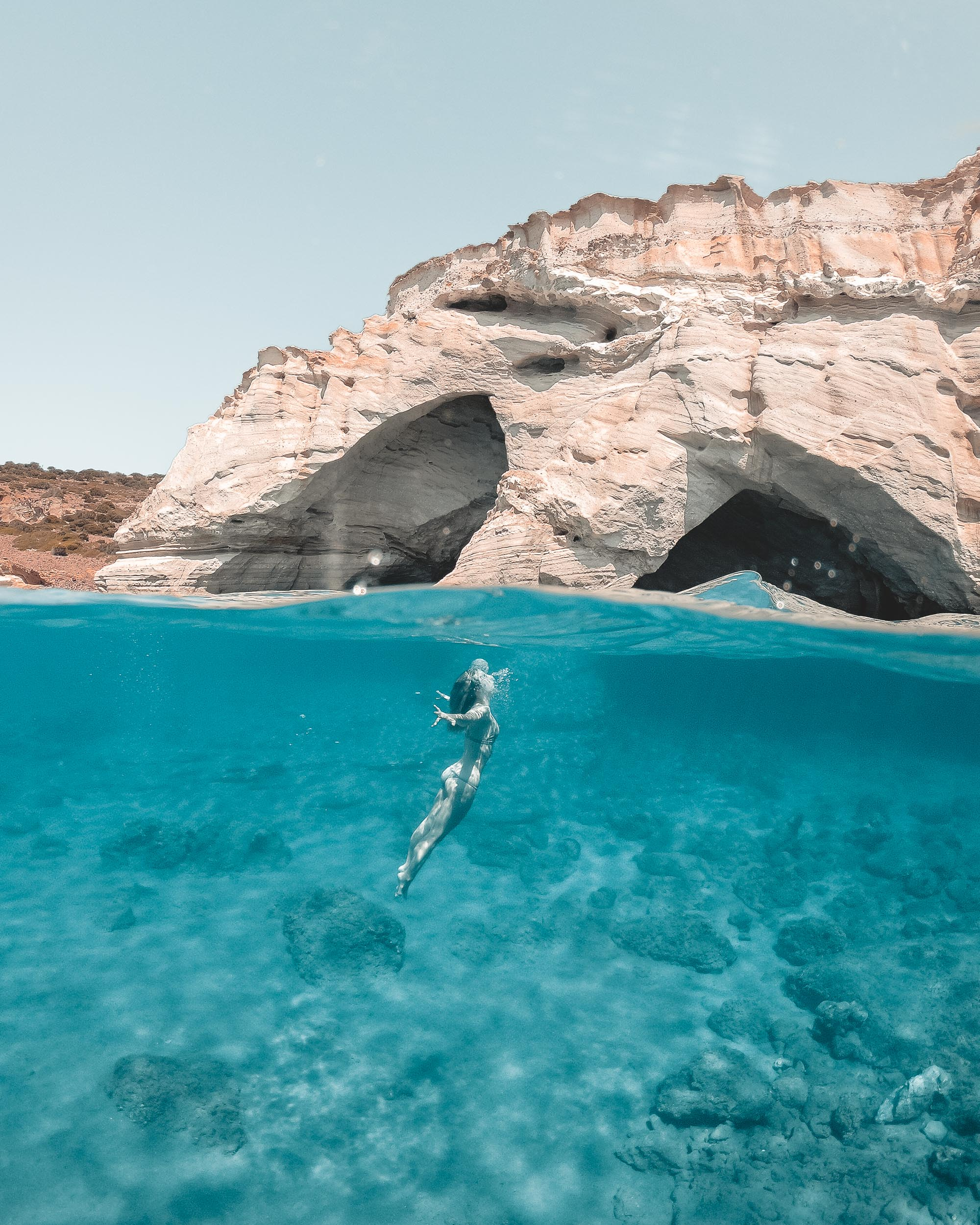 Kleftiko caves in Milos, Greece via @finduslost
