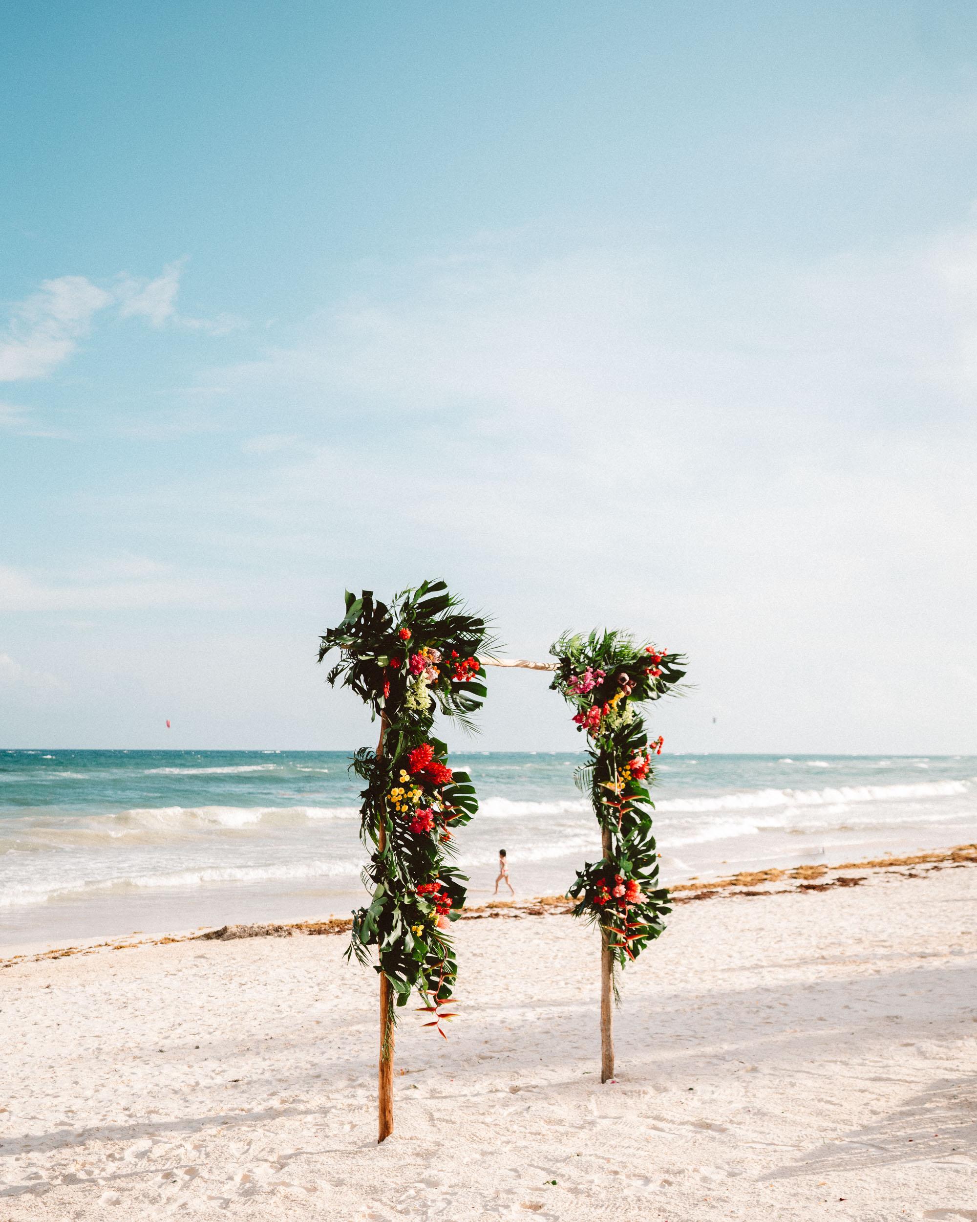 Beach wedding in Tulum Quintana Roo Mexico via Find Us Lost