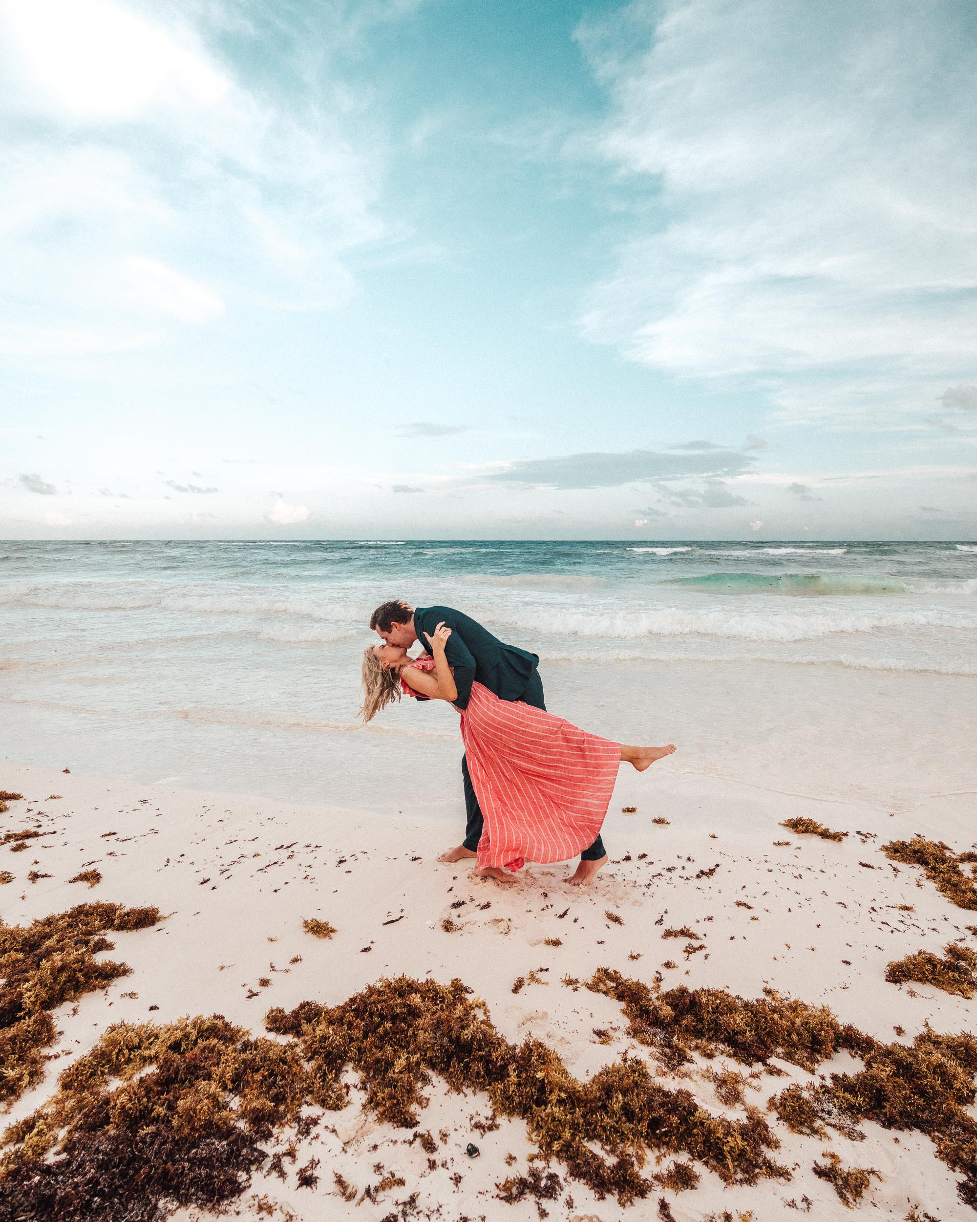 Pink dress in Tulum Mexico via Find Us Lost