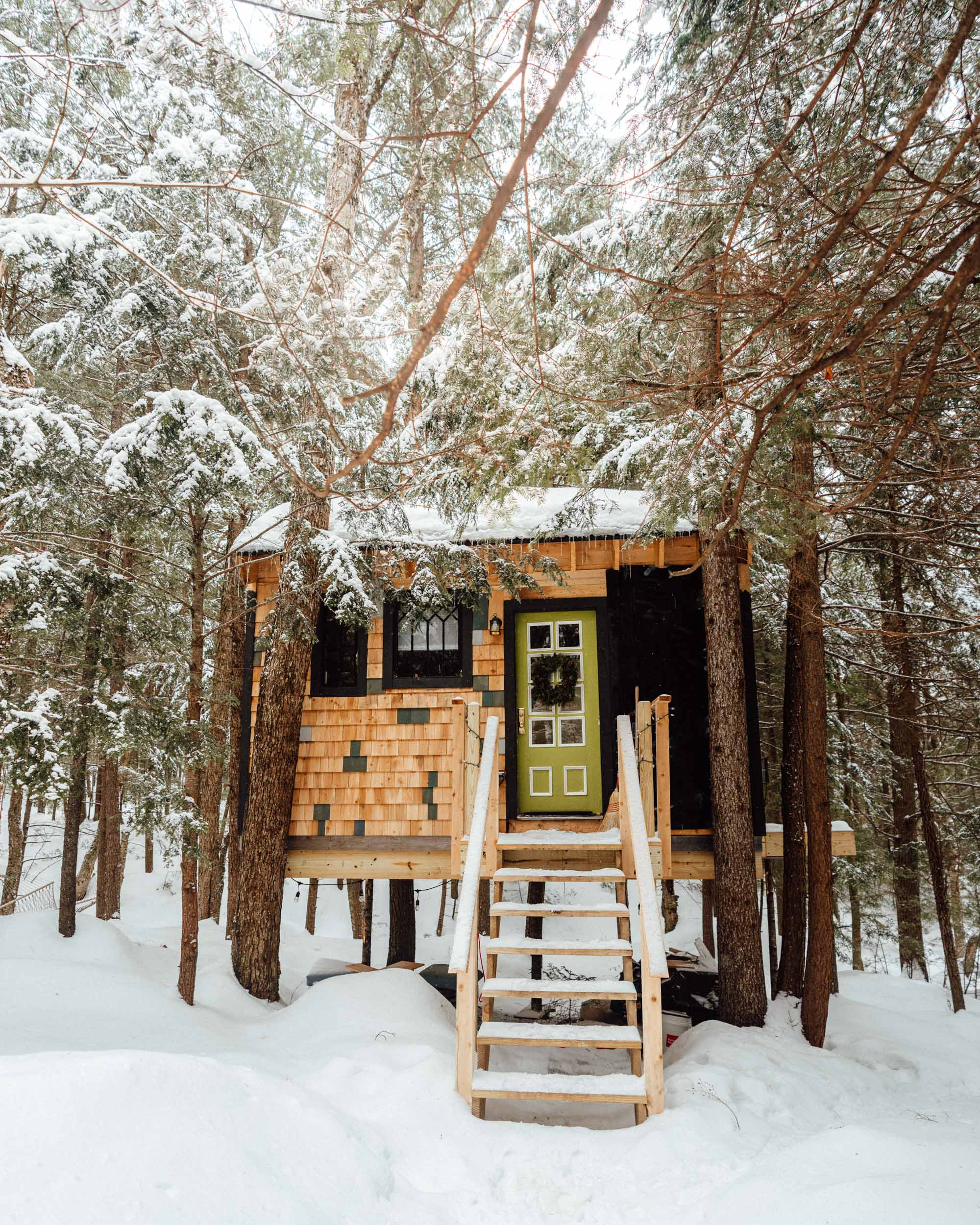 Vermont Treehouse Airbnb in the trees in winter via Find Us Lost