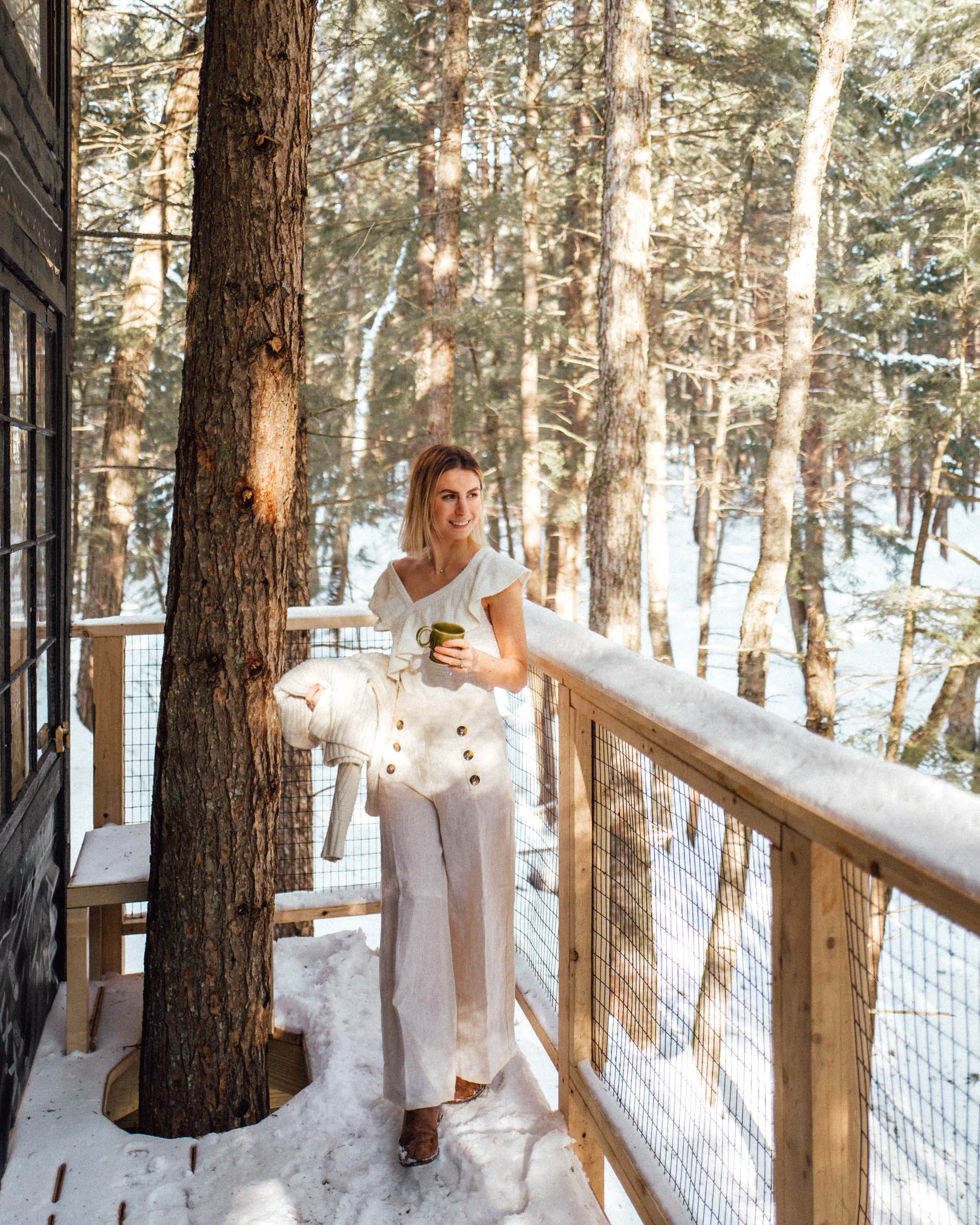 Anthropologie style outside our Treehouse Airbnb getaway in Vermont via Find Us Lost
