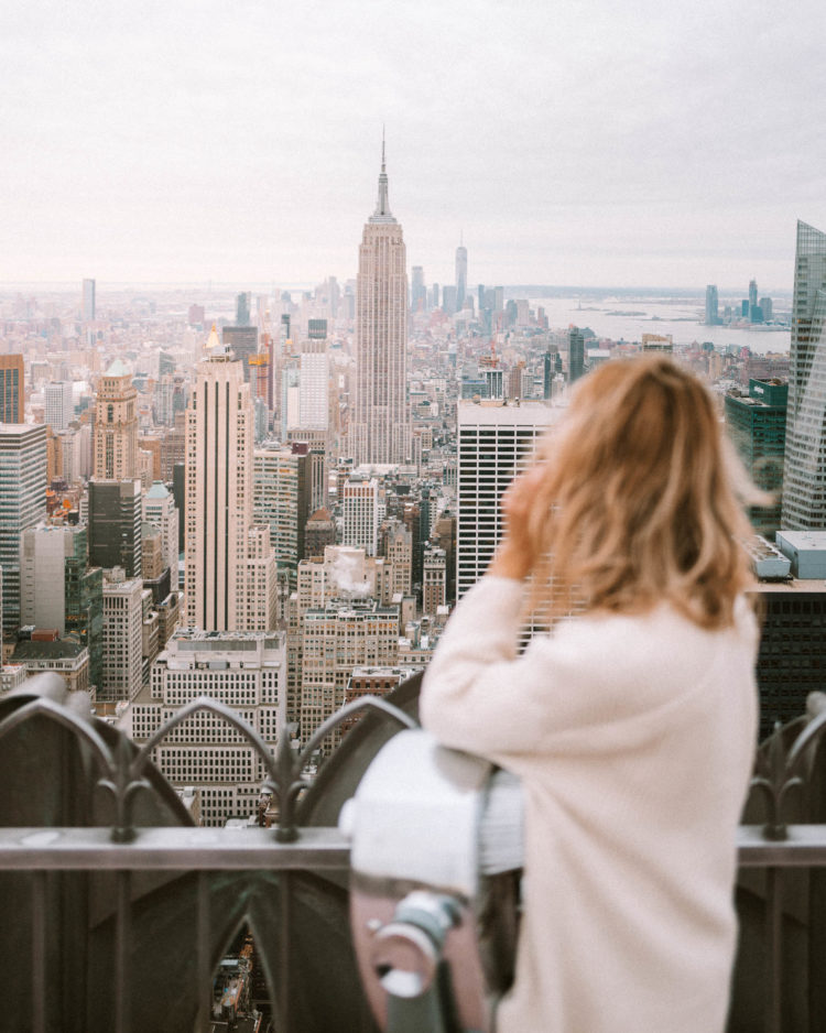 Travel Blogger Selena Taylor at Top of the Rock in New York City