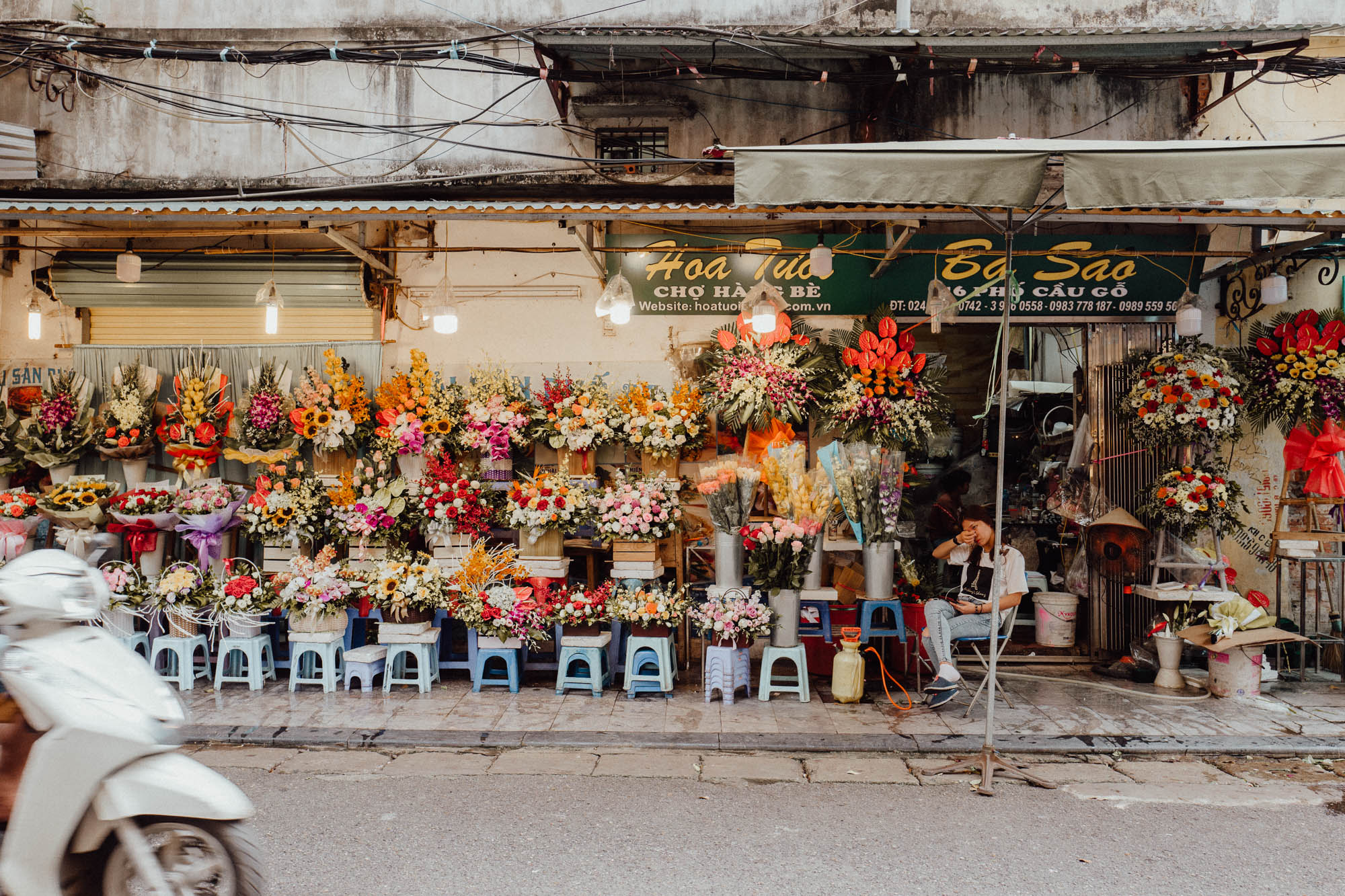 Streets and flower shops of Hanoi Vietnam