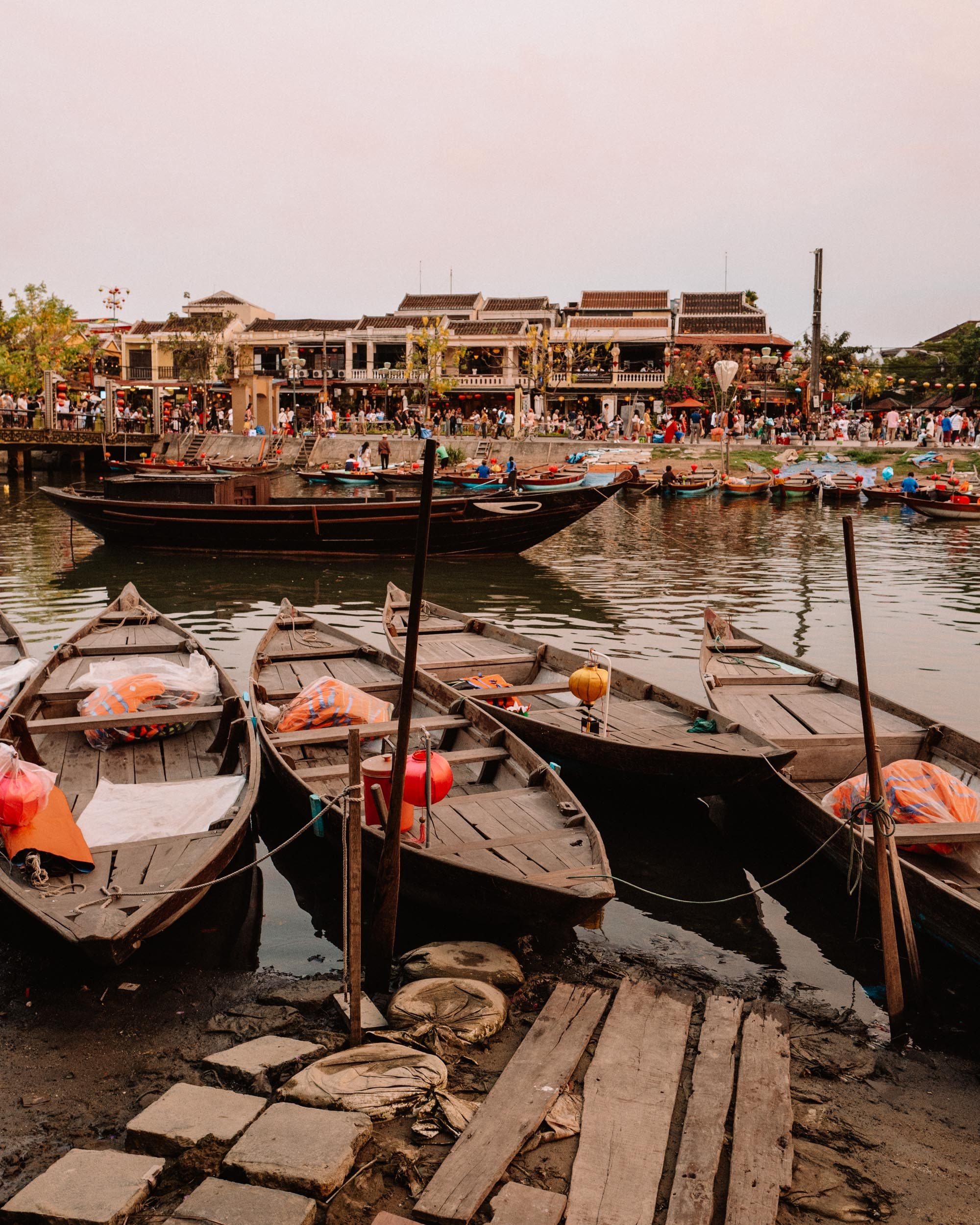 Lanterns and boats at night in Hoi An Vietnam