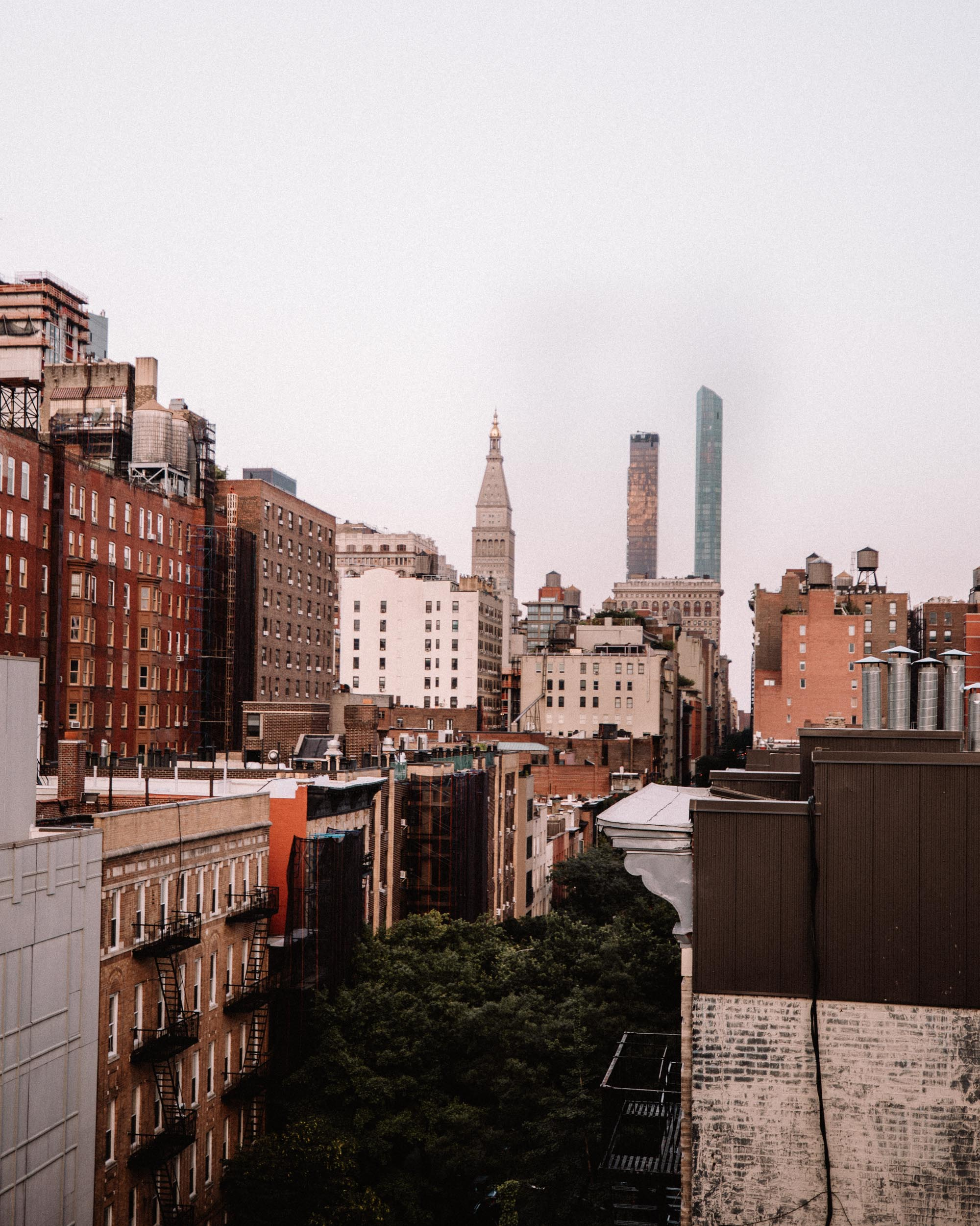 Manhattan skyline from a Chelsea rooftop in New York