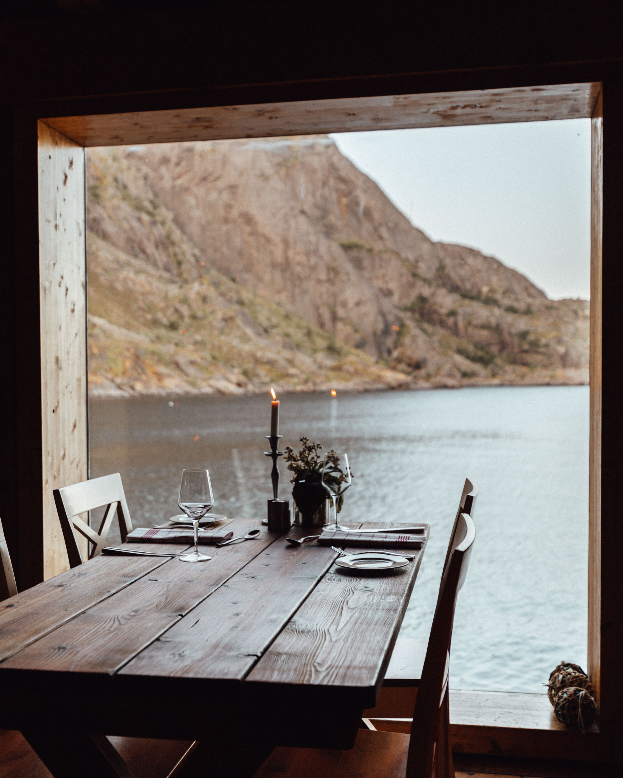 Restaurant in Lofoten Hotel Norway Nusfjord Arctic Resort Traditional Fishermen Red Cabin with a Fjord View - Find Us Lost