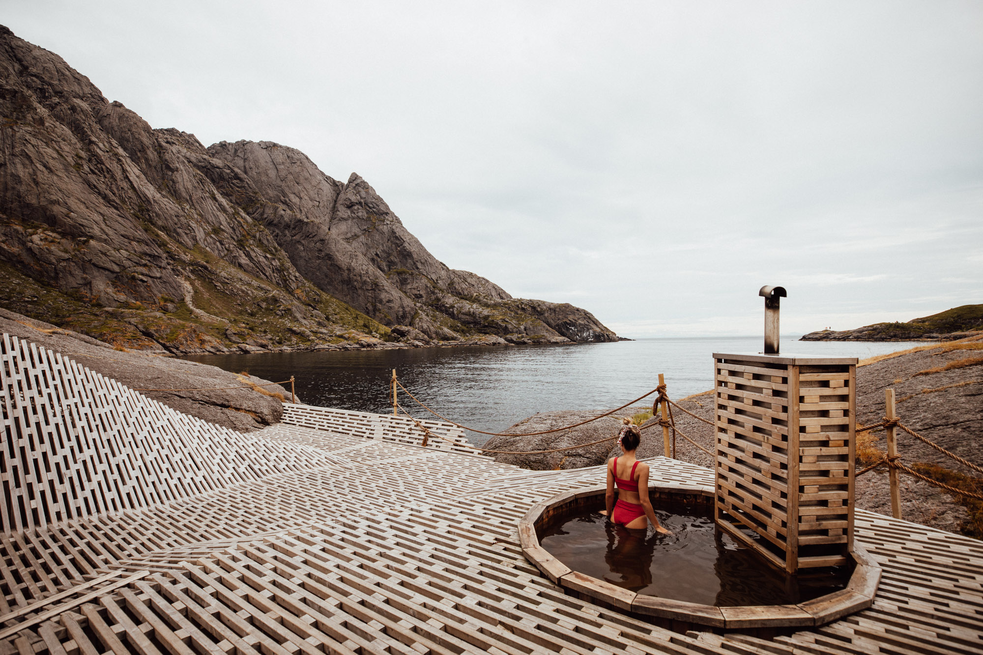 Sauna at Lofoten Hotel in Norway Nusfjord Arctic Resort Traditional Fishermen Red Cabin with a Fjord View - Find Us Lost