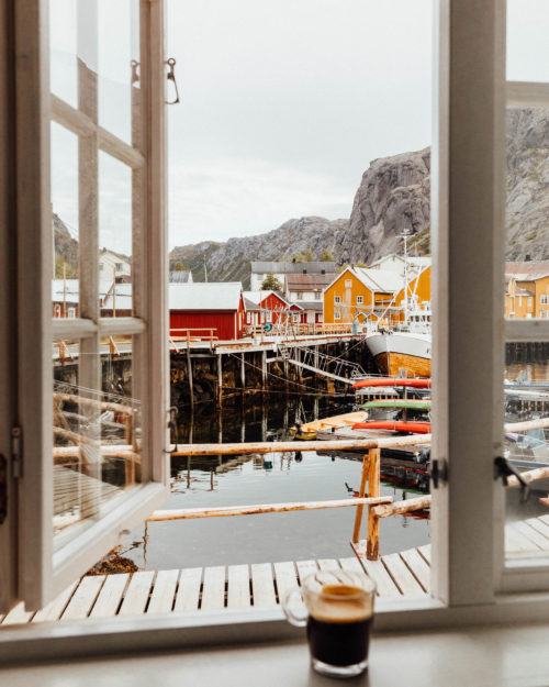 View from Hotel in Lofoten Norway Nusfjord Arctic Resort Traditional Fishermen Red Cabin with a Fjord View - Find Us Lost