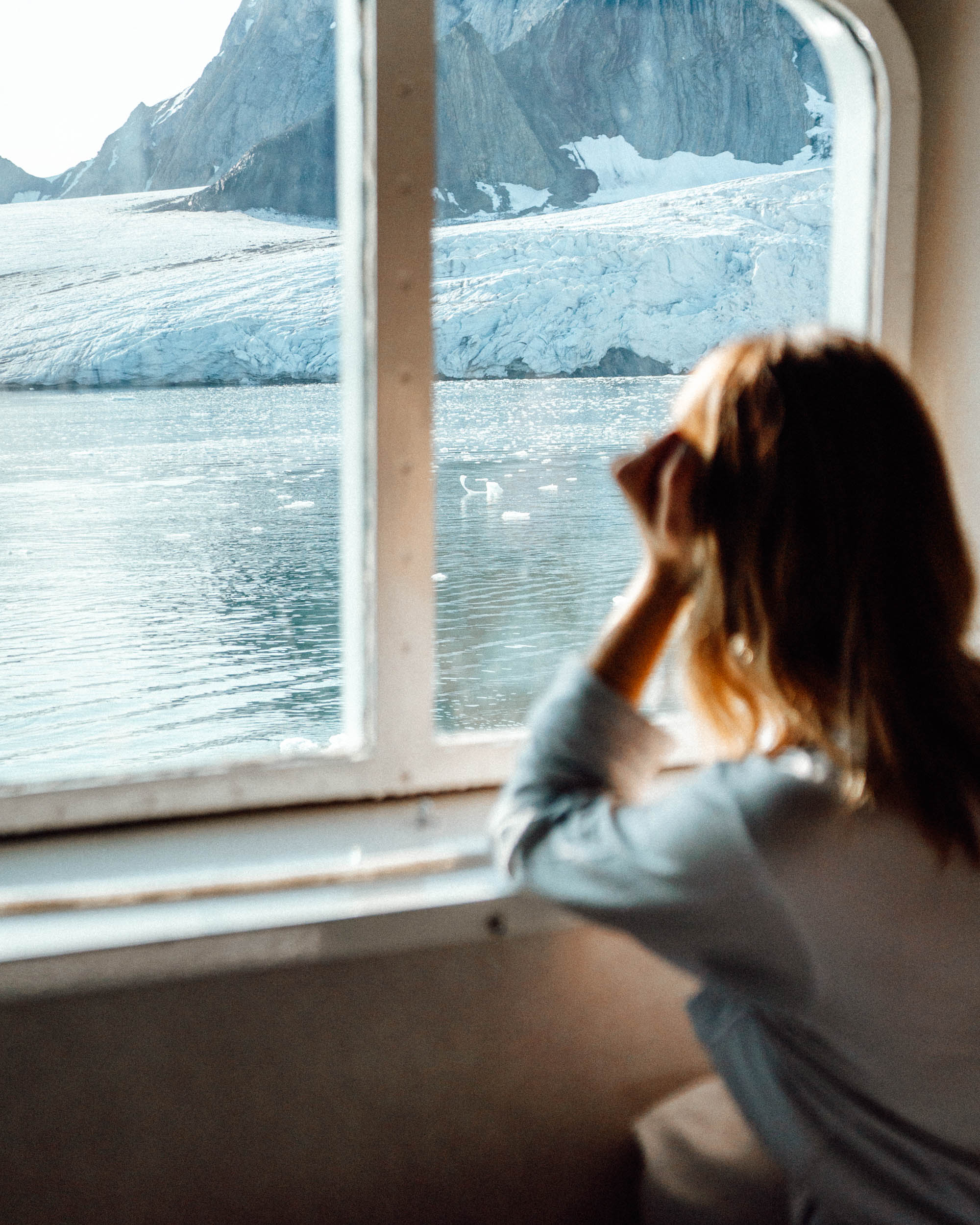Brepollen glacier bay from the Polarquest ship in Svalbard, Spitsbergen, Norway