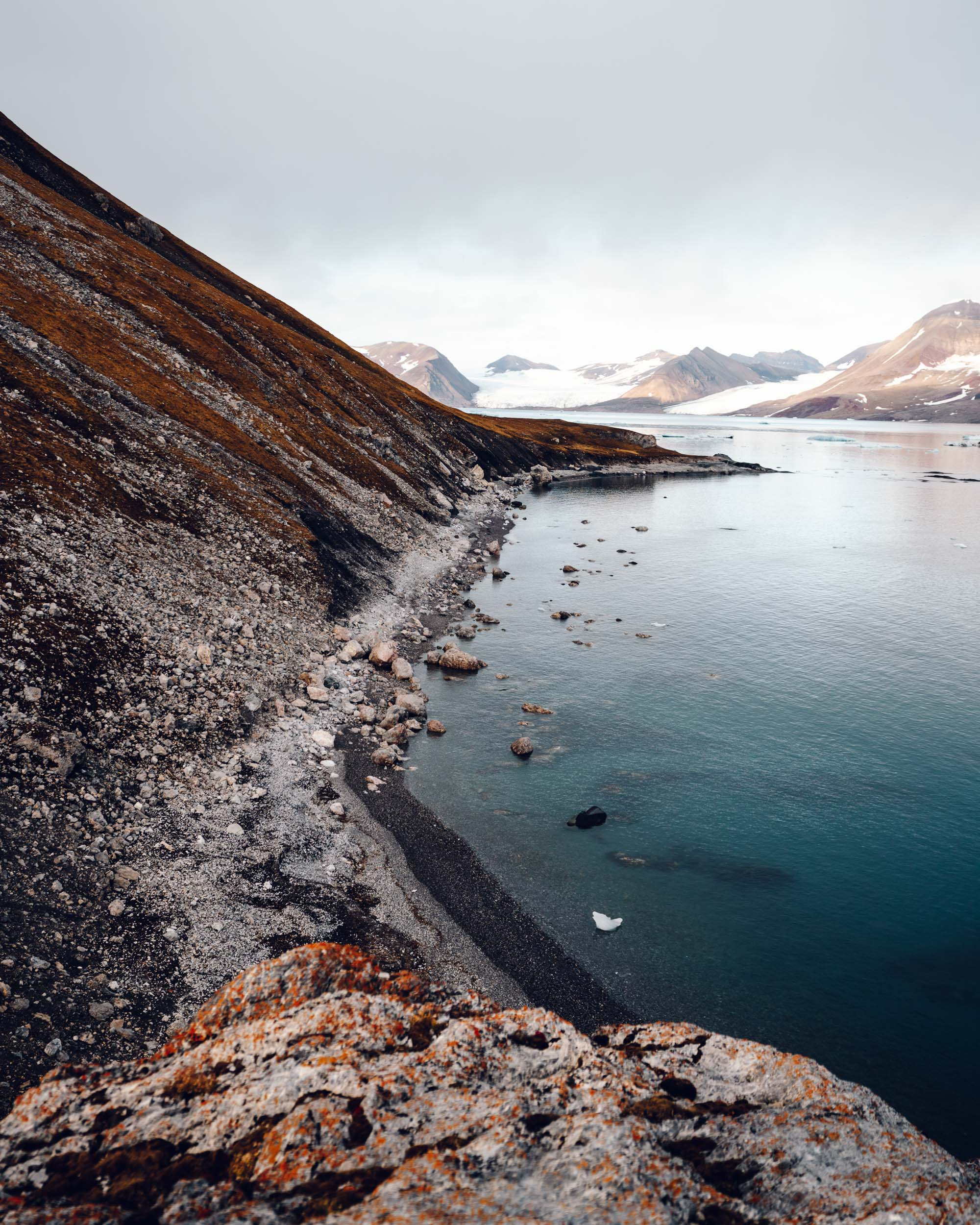 Beaches and glaciers in Svalbard, Norway