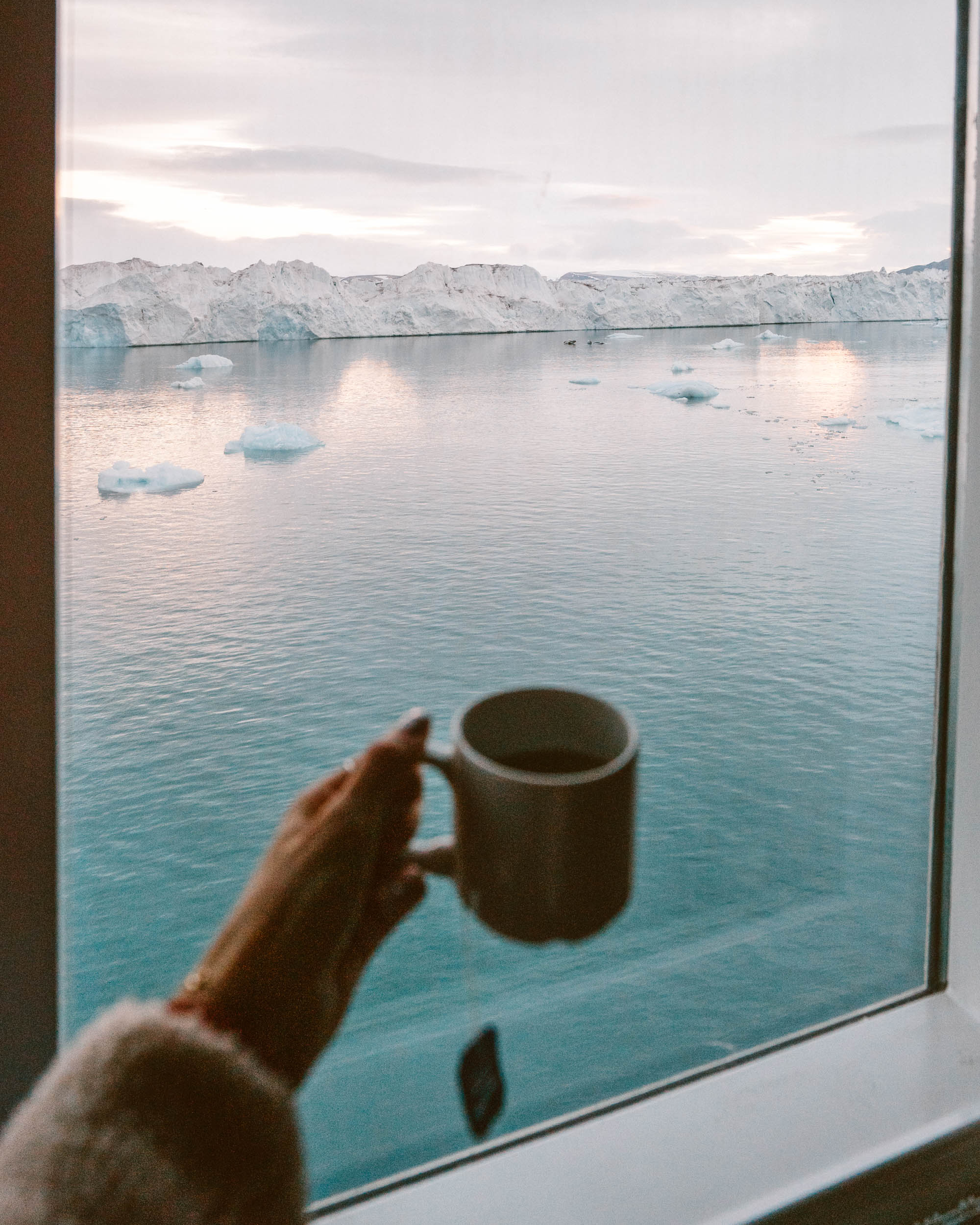 Views from the upper deck of our Polarquest ship in Svalbard, Norway