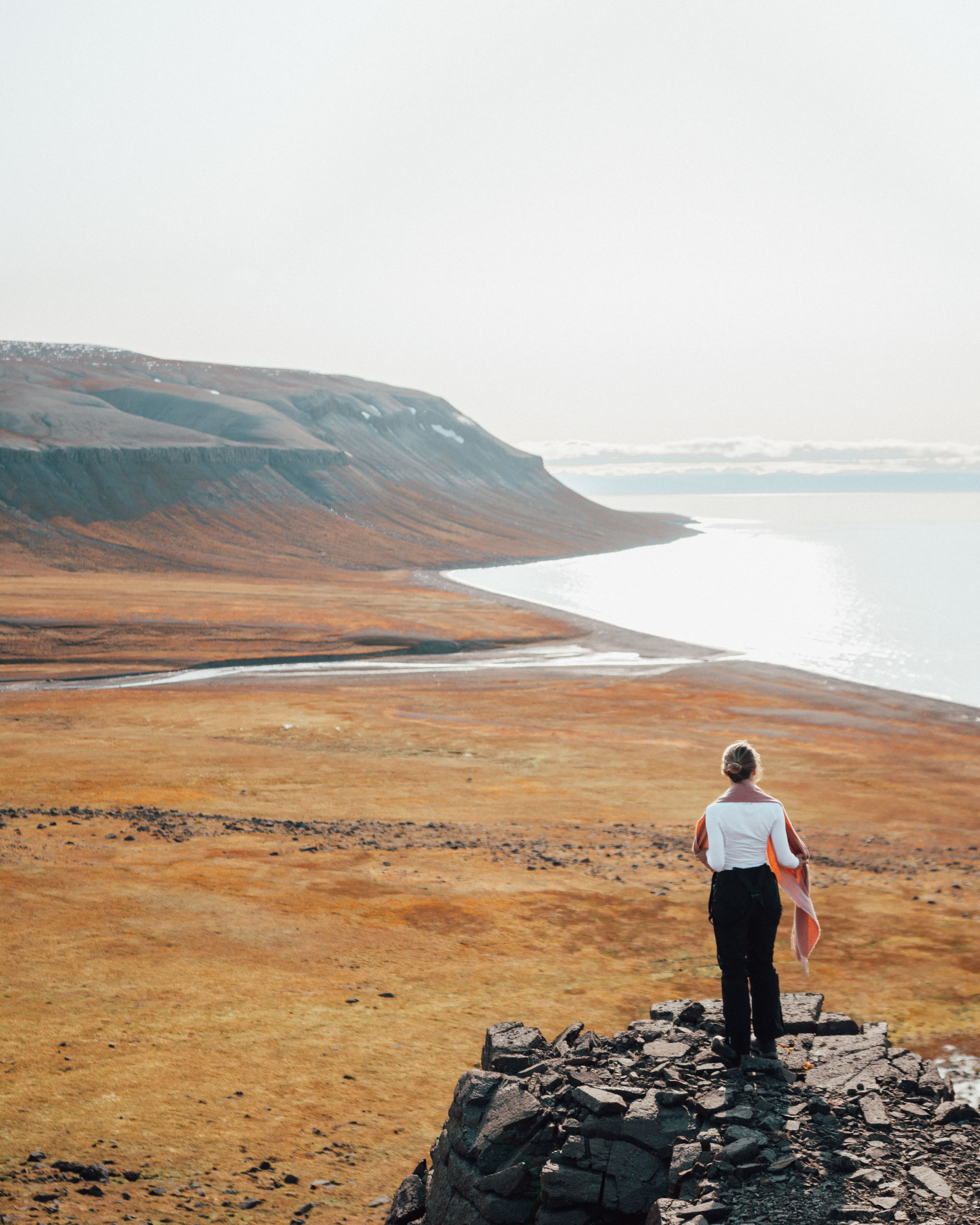 Overlook of reindeer valley in Spitsbergen, Svalbard, Norway