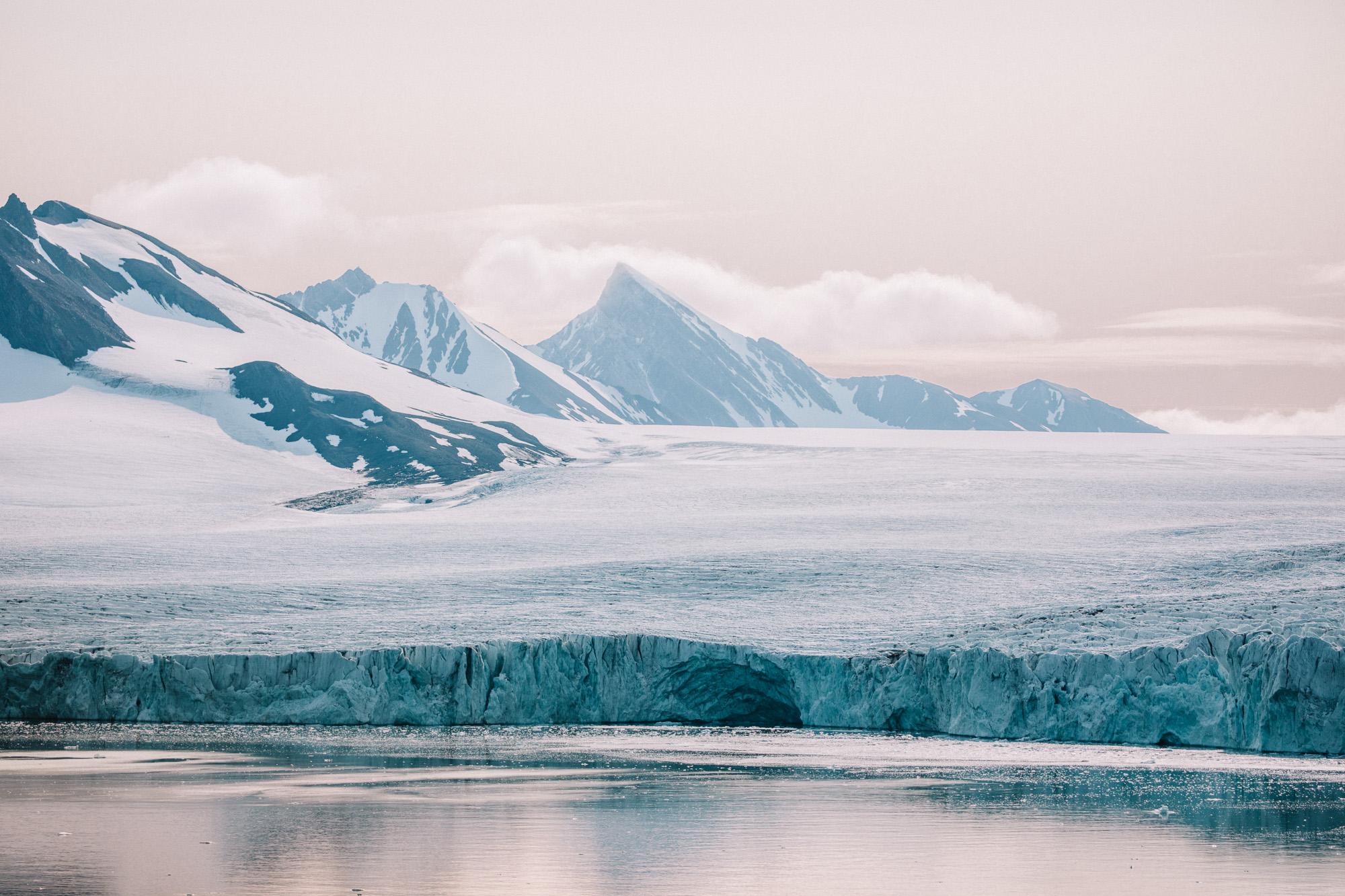Samarinbreen glacier in Sørkapp Land at Spitsbergen, Svalbard