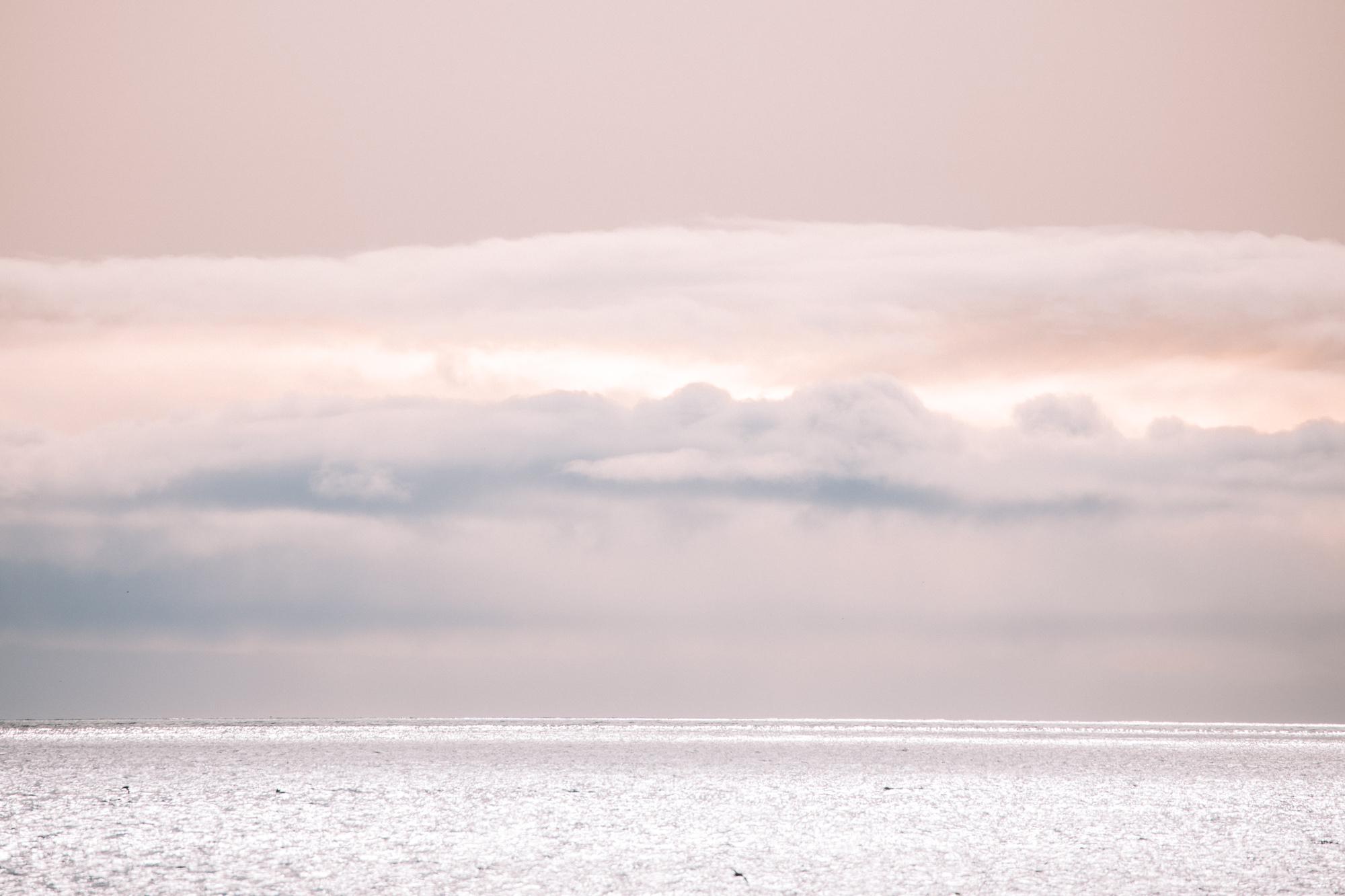 Midnight sun pink skies in Svalbard, Spitsbergen, Norway