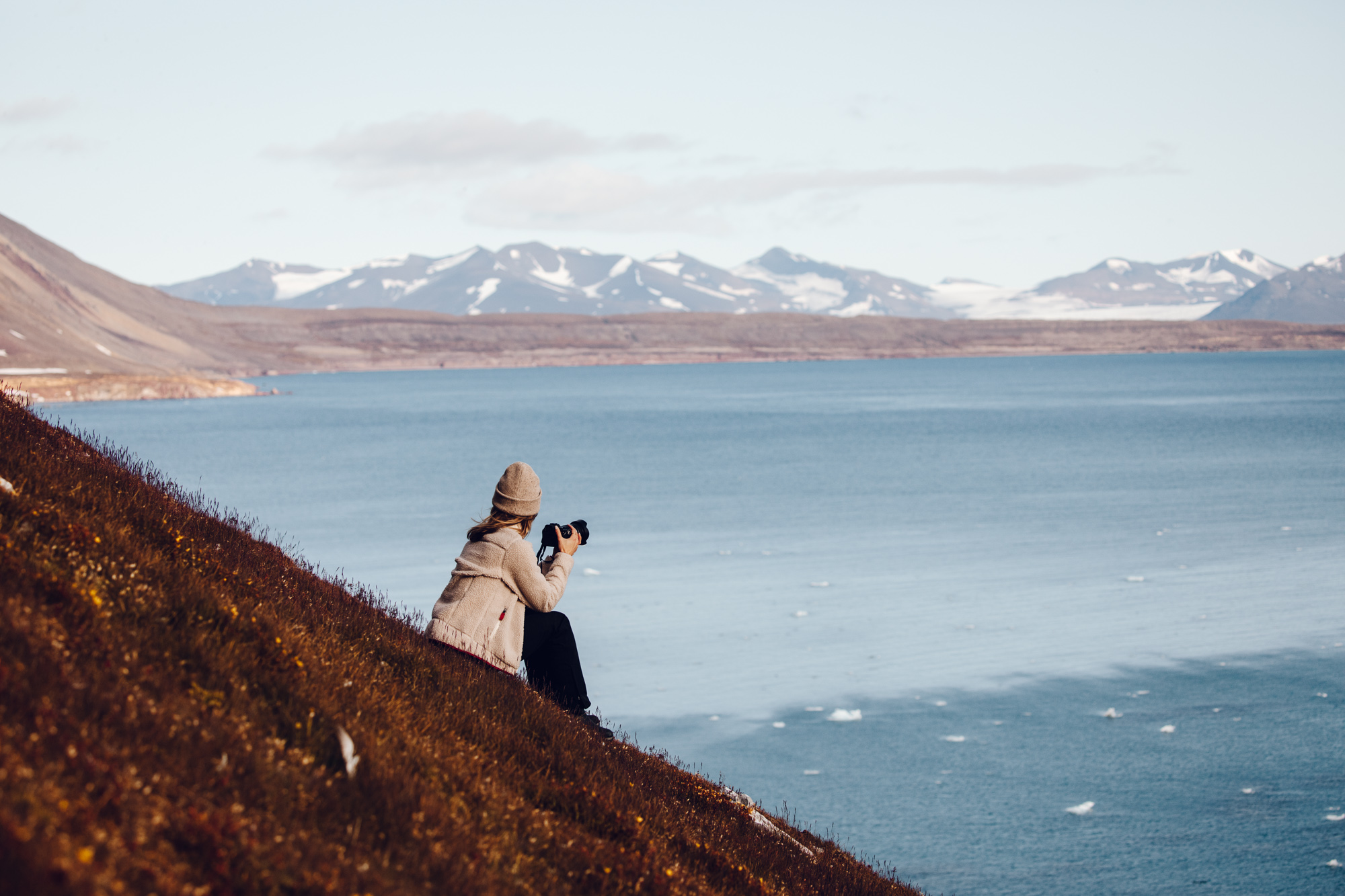 Hike over the arctic sea in Svalbard, Spitsbergen, Norway