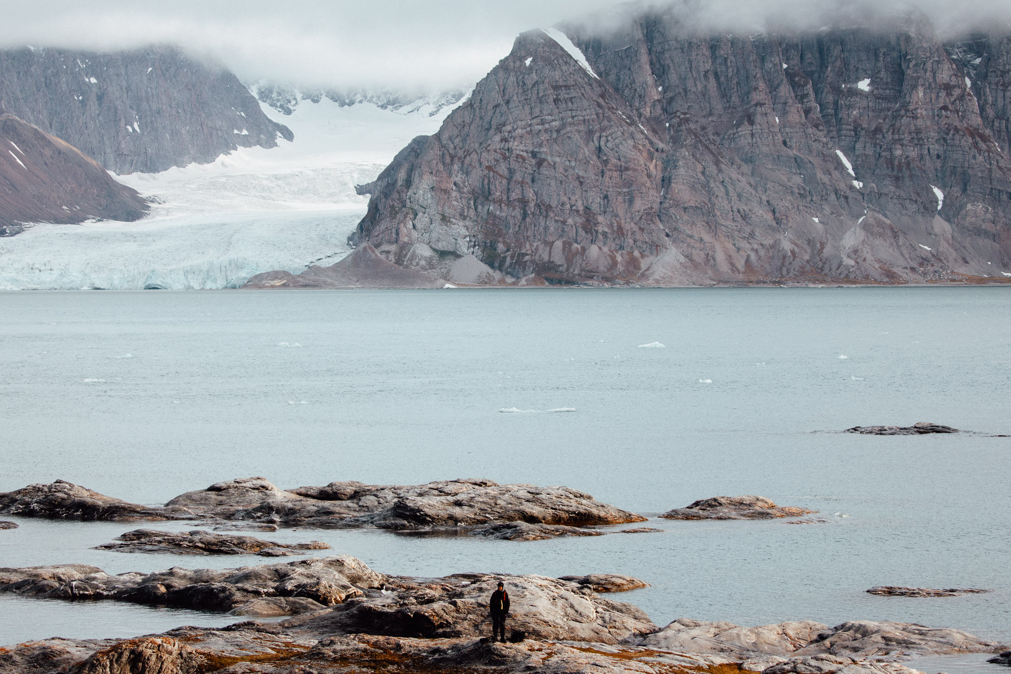 Glacier and beach landscapes in Svalbard, Spitsbergen, Norway