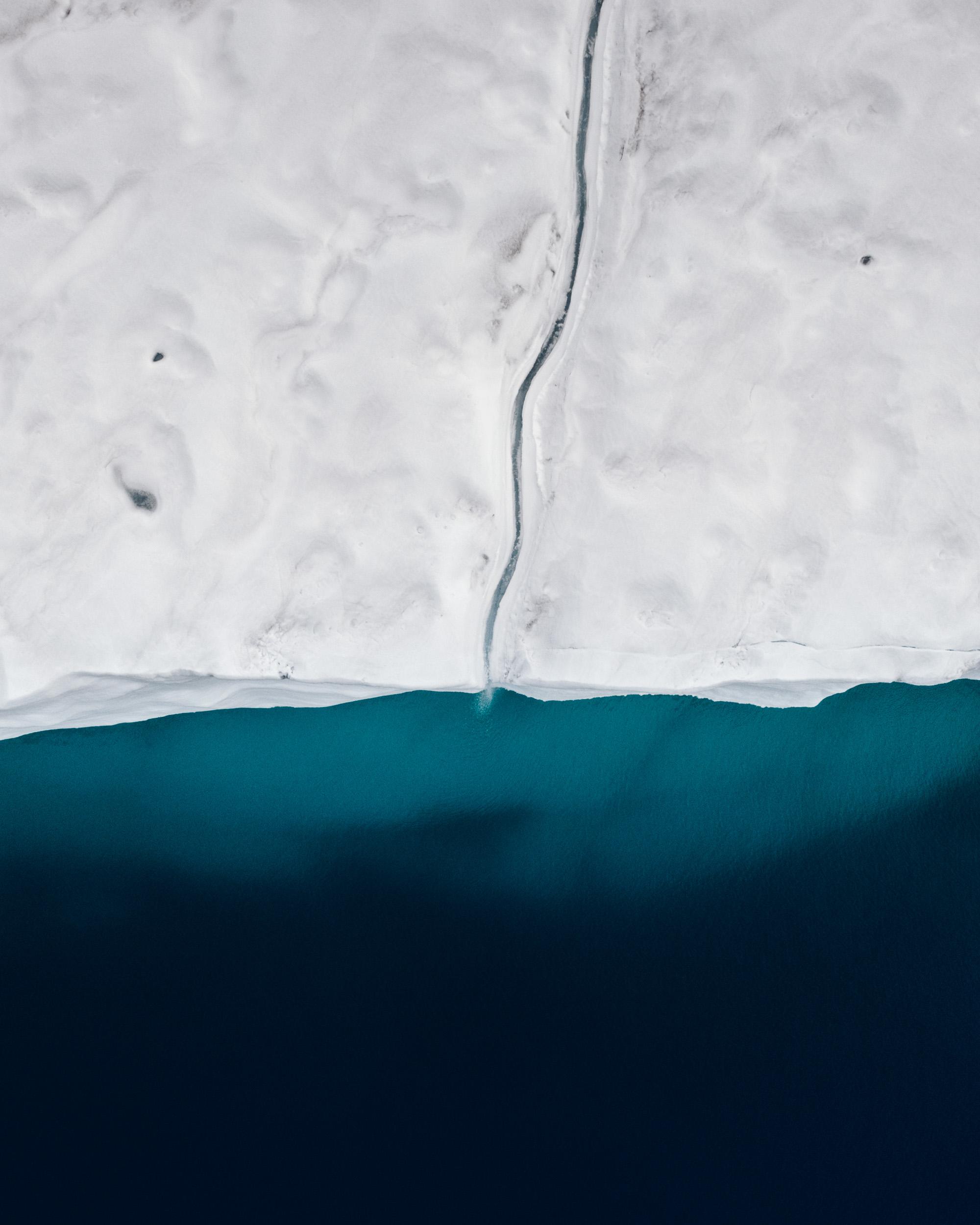 Aerial of Glacier front Bråsvellbreen in Svalbard and Jan Mayen, Norway