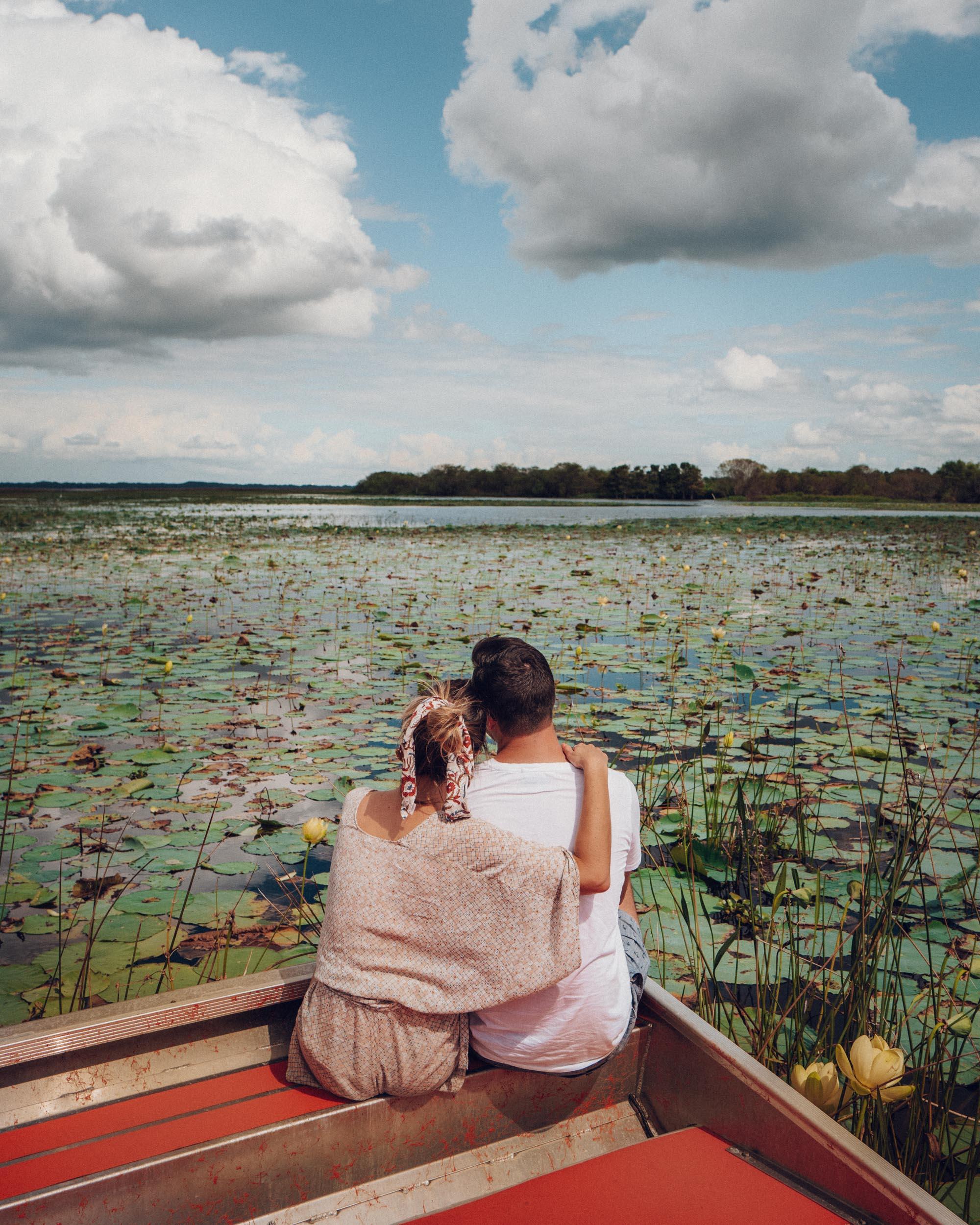 Fan boat alligator tour in the Kissimmee florida Everglades Lake Tohopekaliga