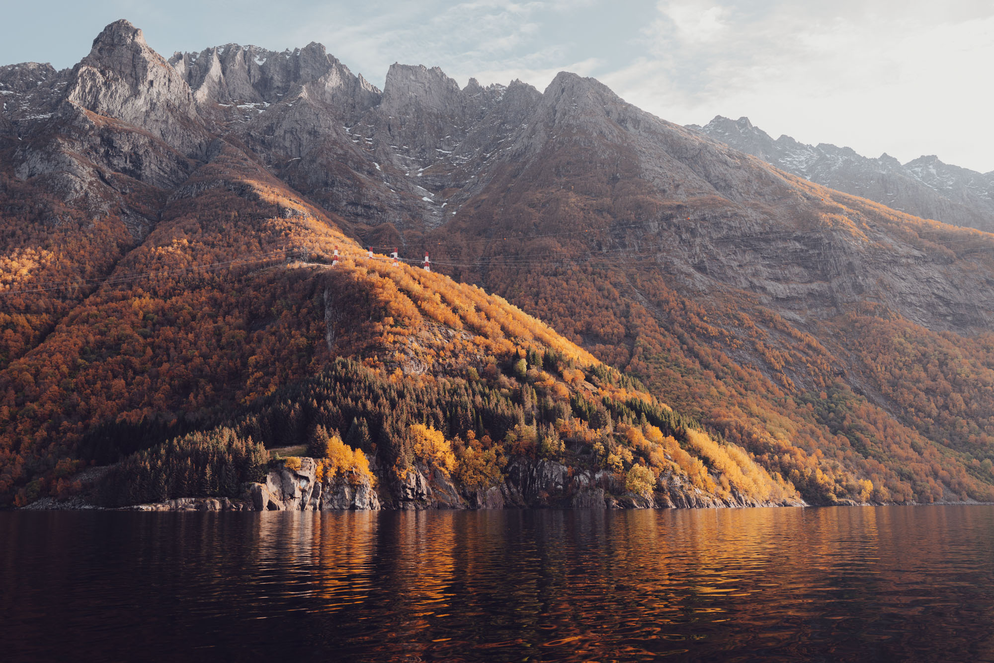 Fall in the Norwegian fjords in Alesund, Norway