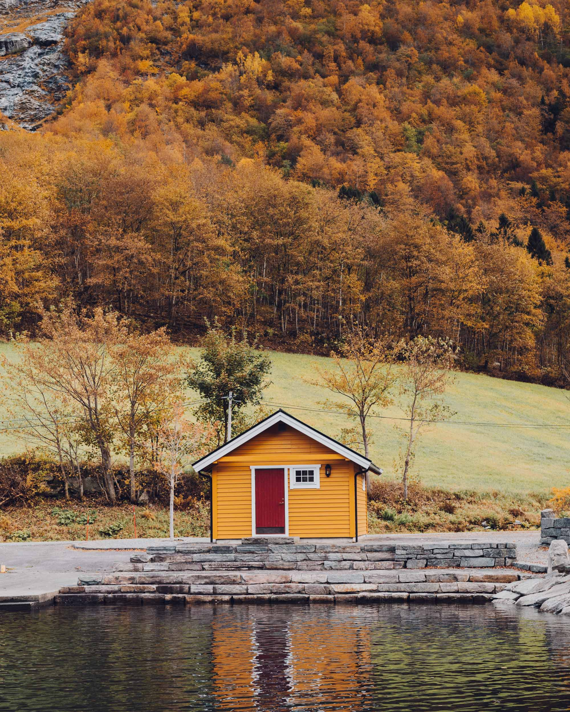Fall in the Norwegian fjords near Alesund, Norway