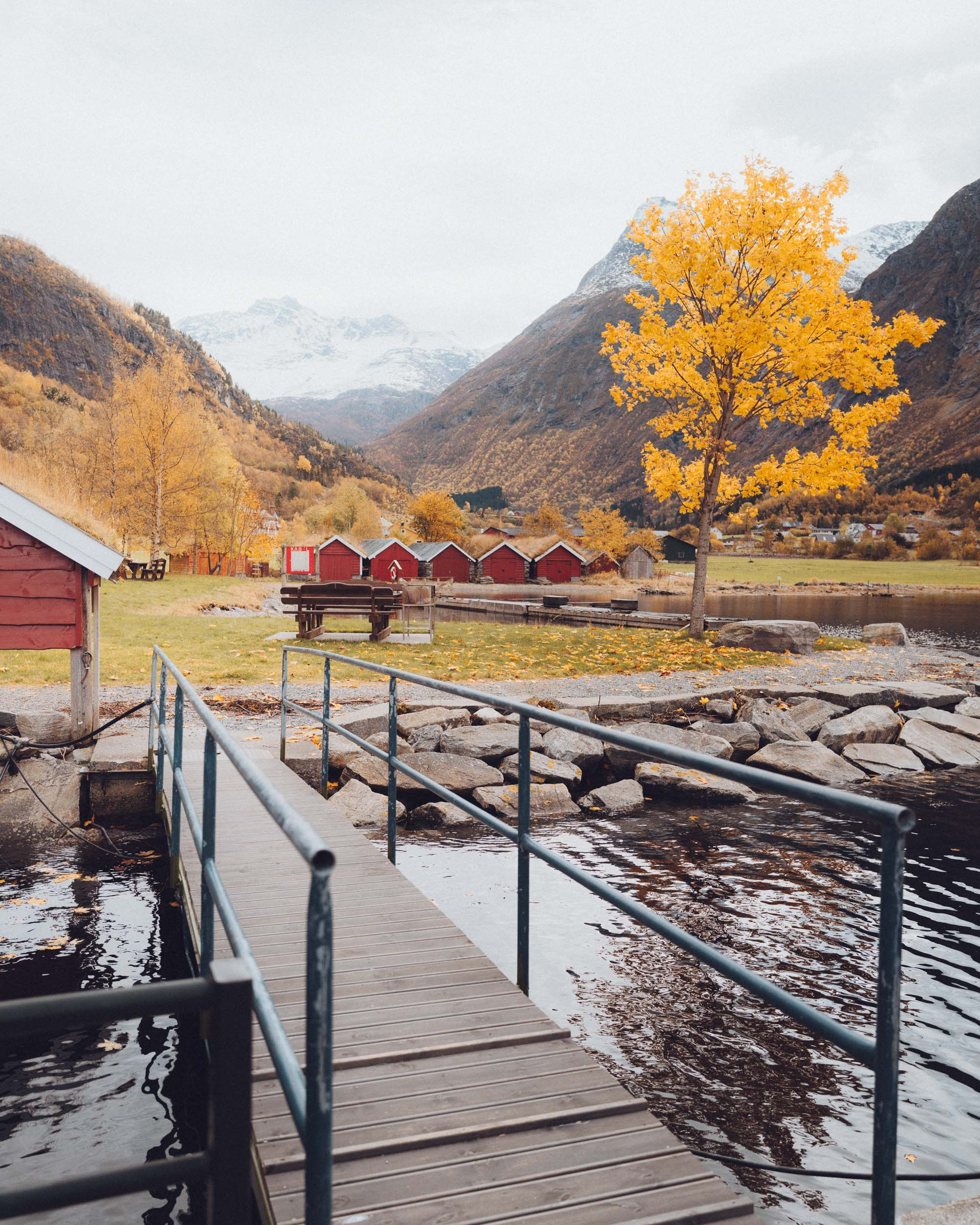 Fall colors in Norangsfjorden, Norway near Alesund