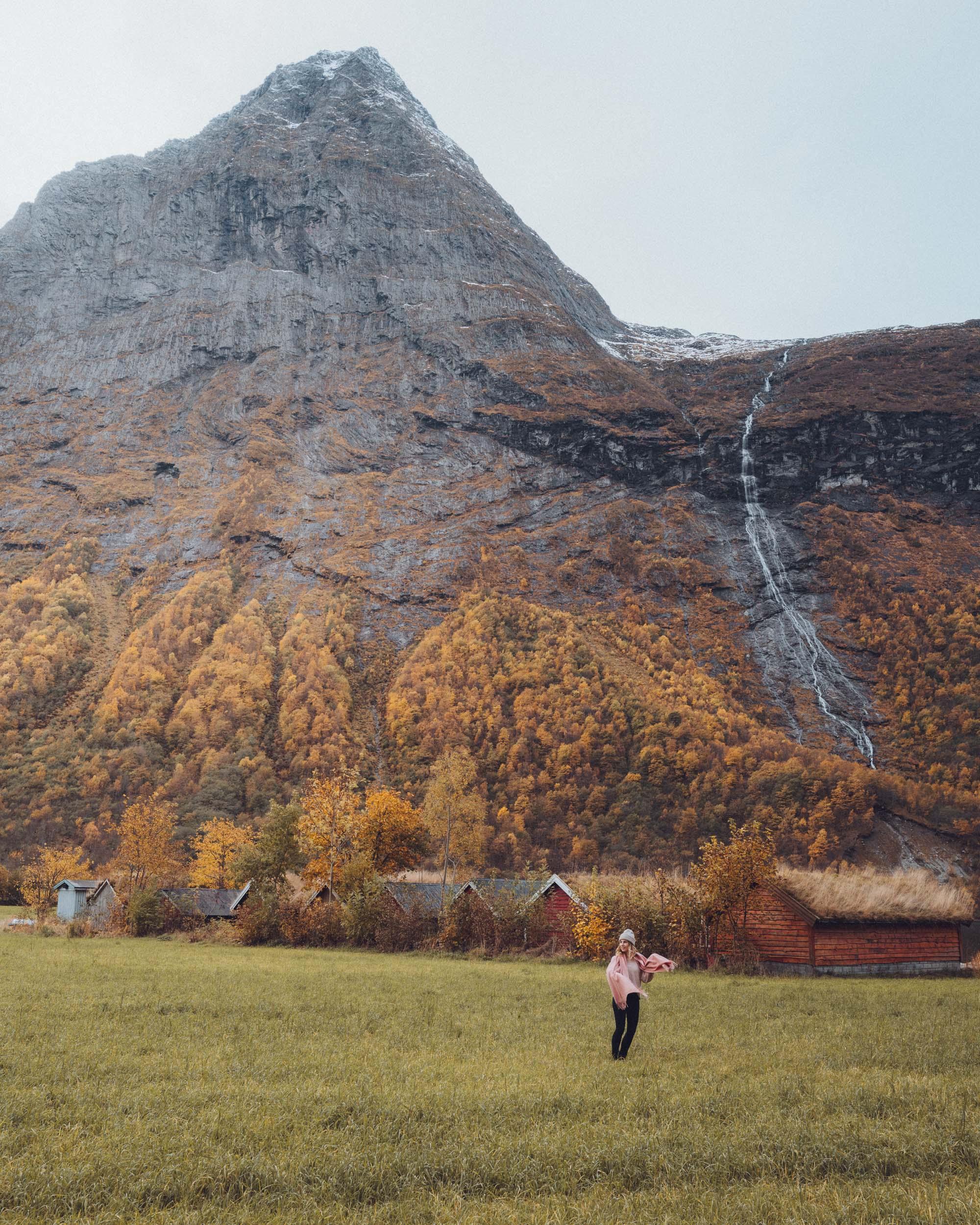 Fall colors in Norangsfjorden, Norway near Alesund