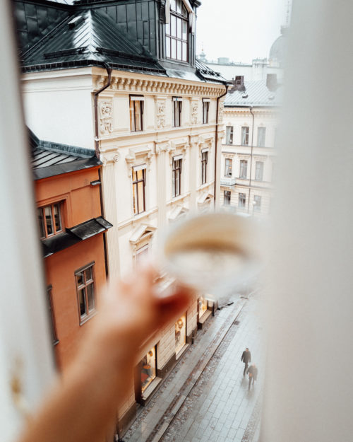 Room view with coffee at Bank Hotel Stockholm Sweden