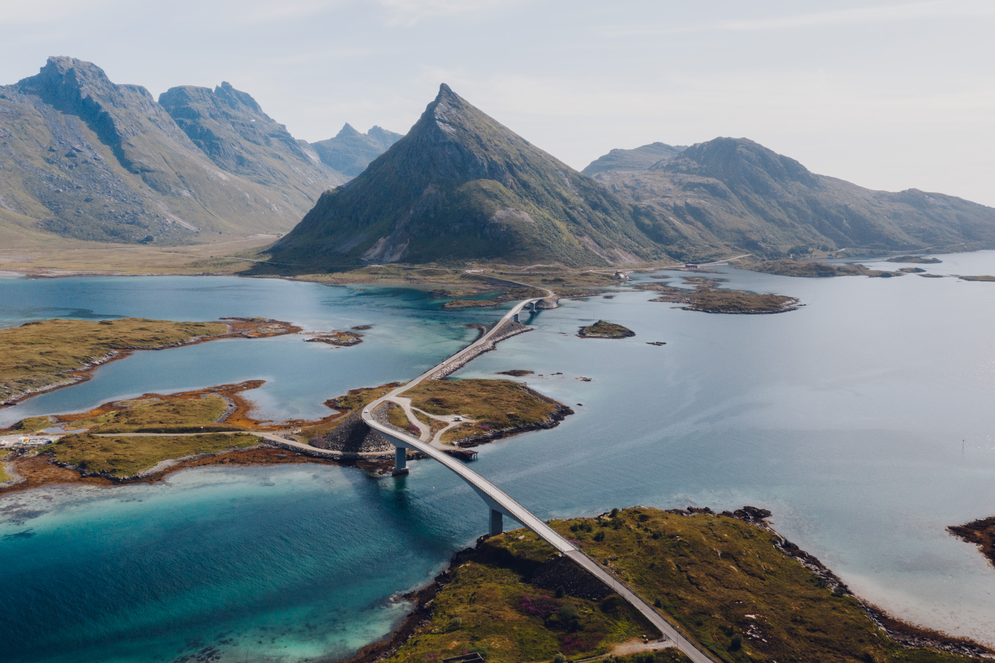 Fredvang drone photo of road over Norway