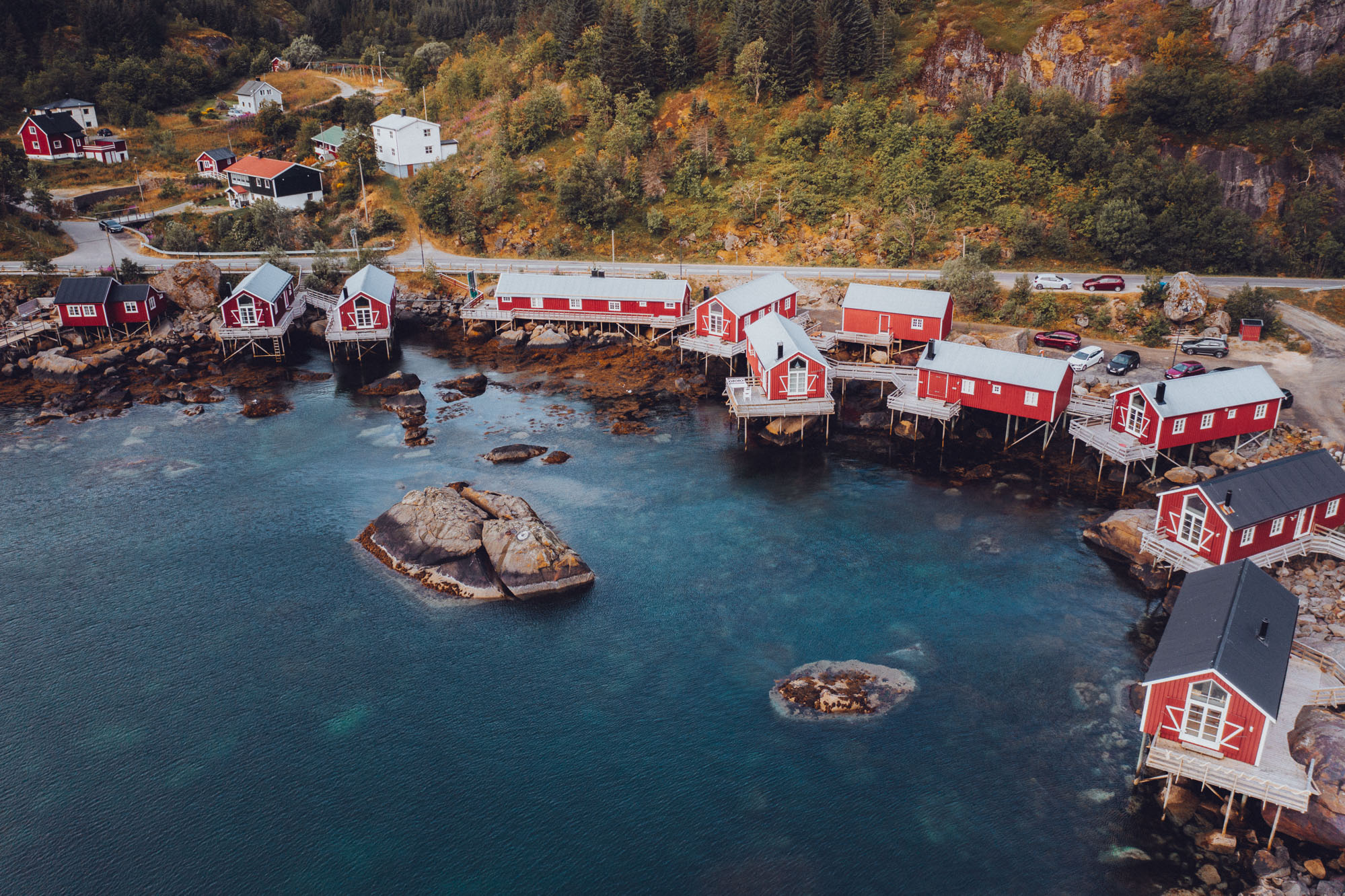 Drone photo of Nusfjord town in Lofoten Norway