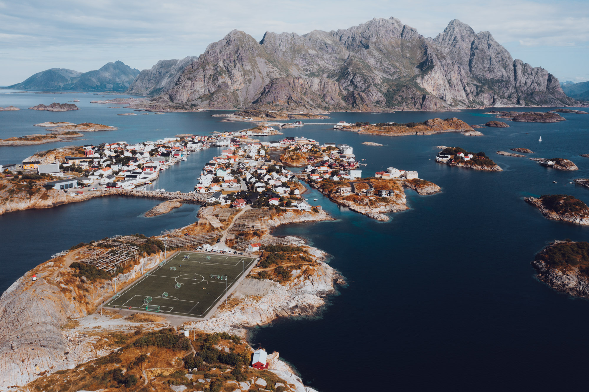 Drone photo of Henningsvær town in Lofoten Norway