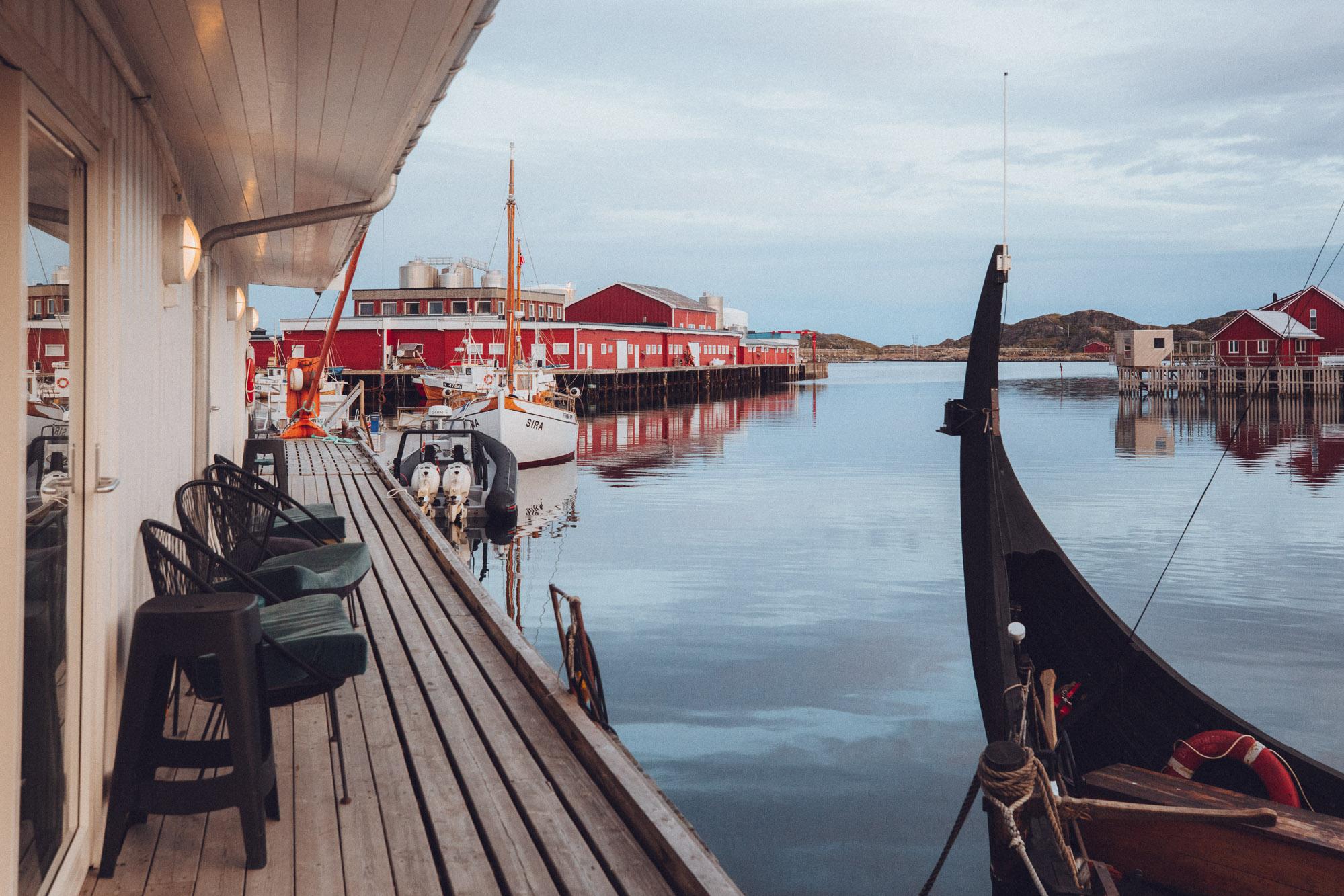 Restaurant near Hattvika Lodge view of Ballstad Lofoten Islands Norway