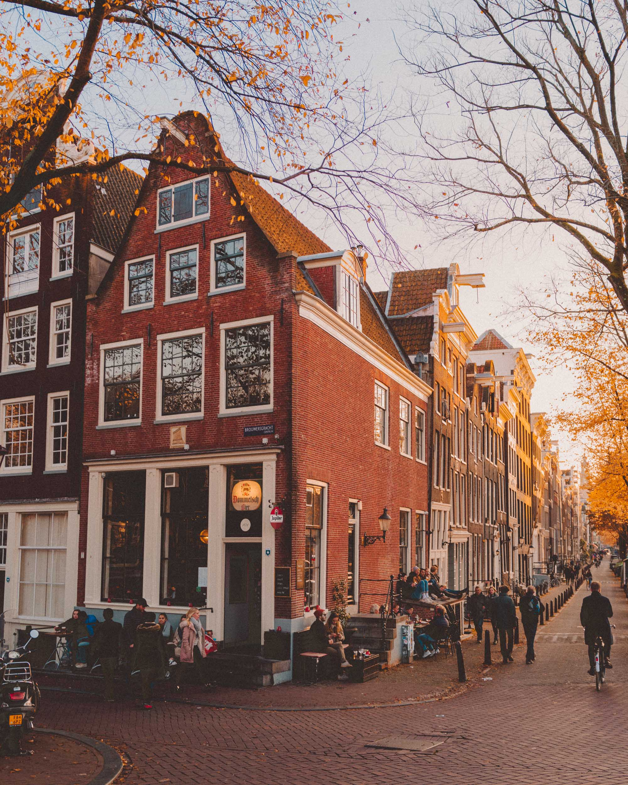 Essential Amsterdam canals with bikes and restaurants