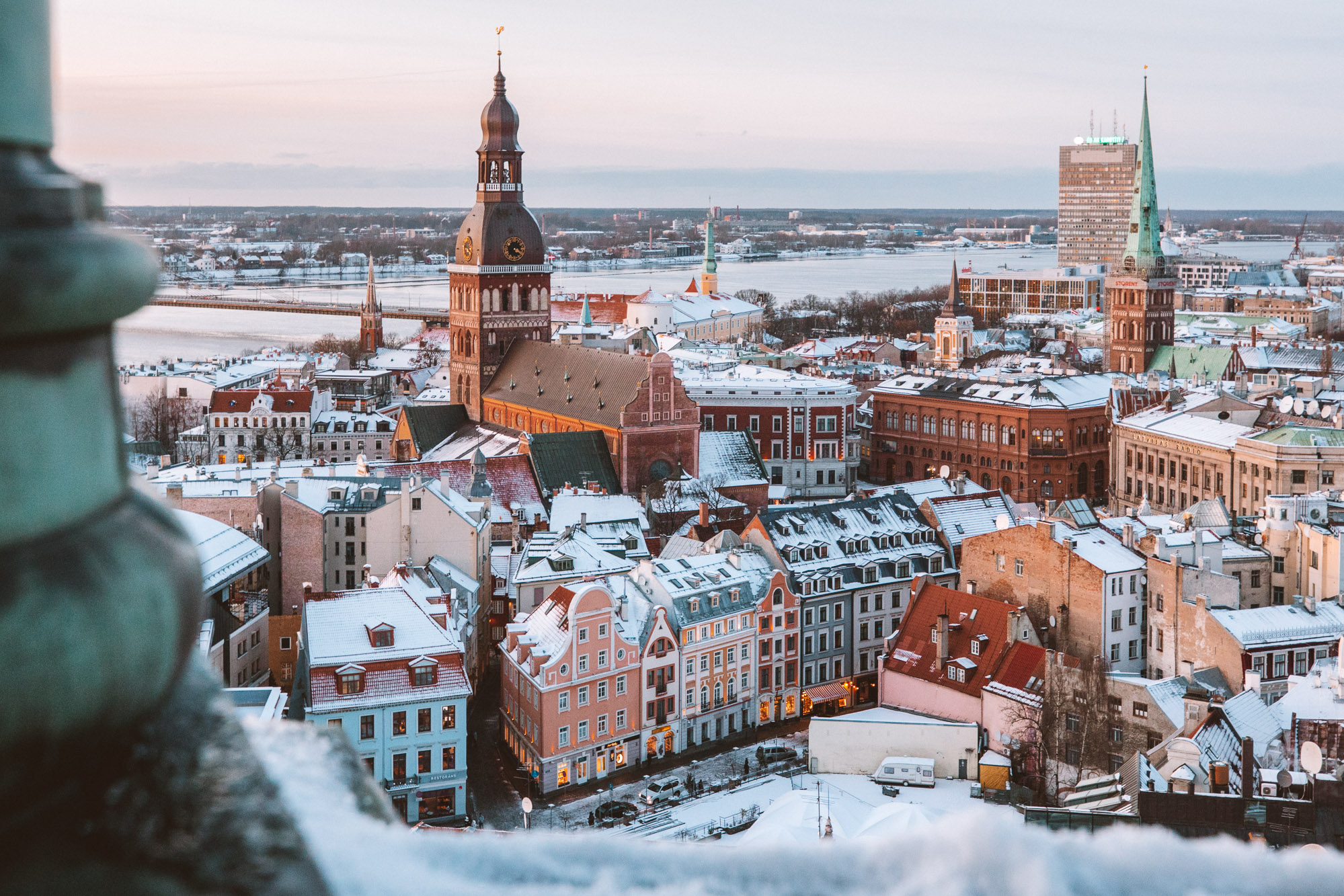Riga Latvia St Peters Church View Near Christmas Market in Winter via @finduslost