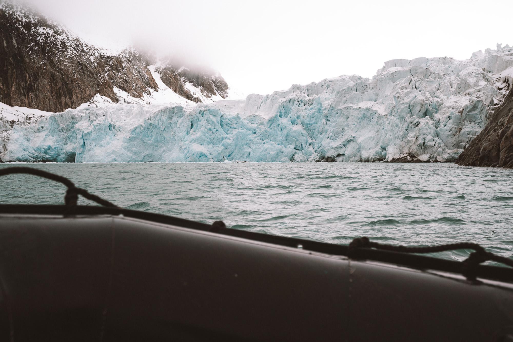 Hamilton Bukta glaciers in Svalbard Spitsbergen from our zodiac