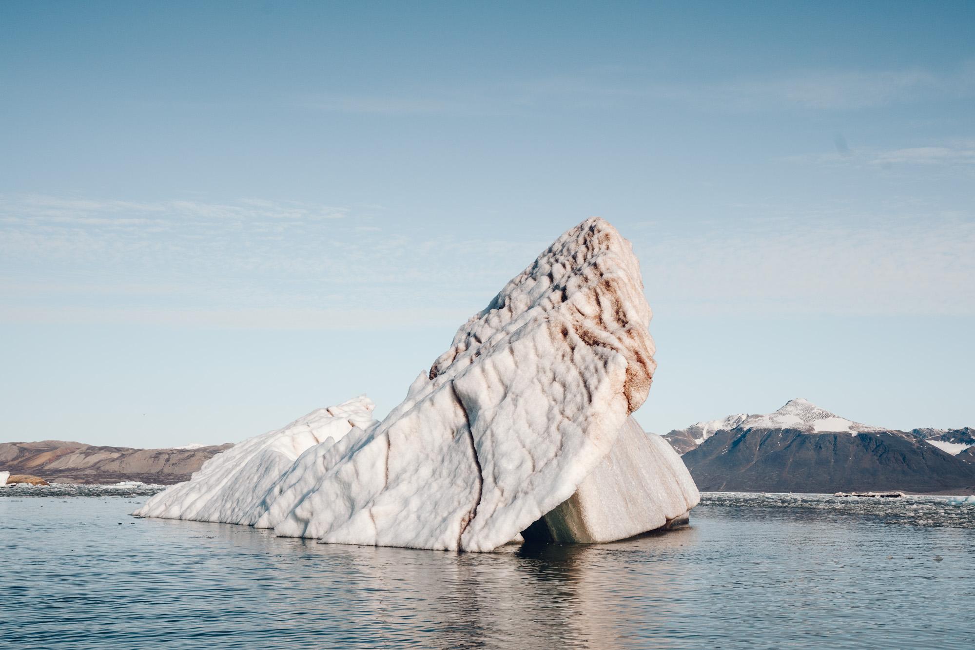 Icebergs floating in the arctic ocean in Kongsfjorden