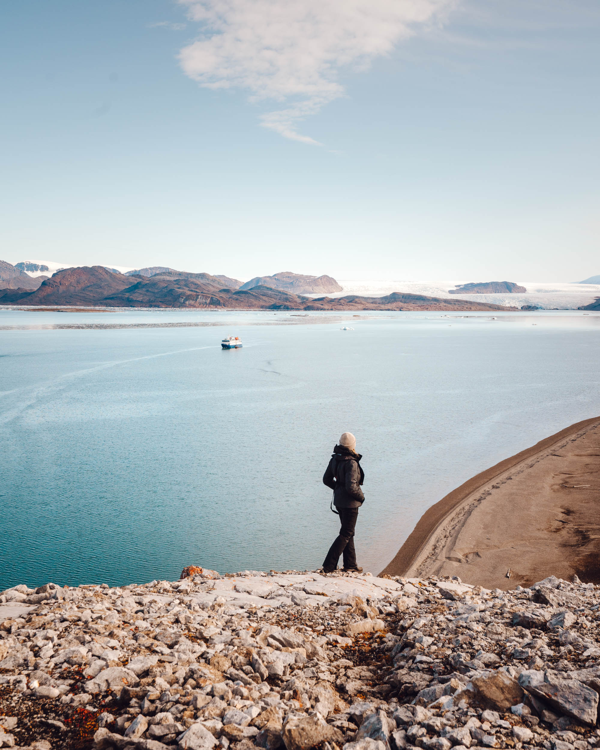 Polarquest ship in Svalbard arctic ocean in Kongsfjorden
