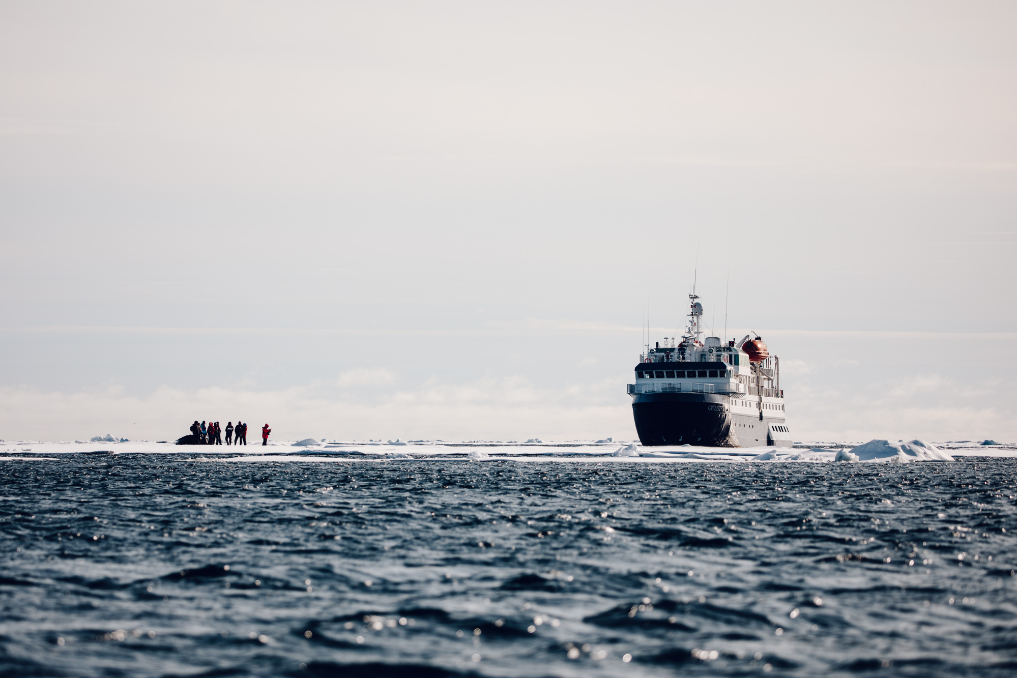 On an ice float in the arctic ocean of Svalbard with Polarquest via Find Us Lost