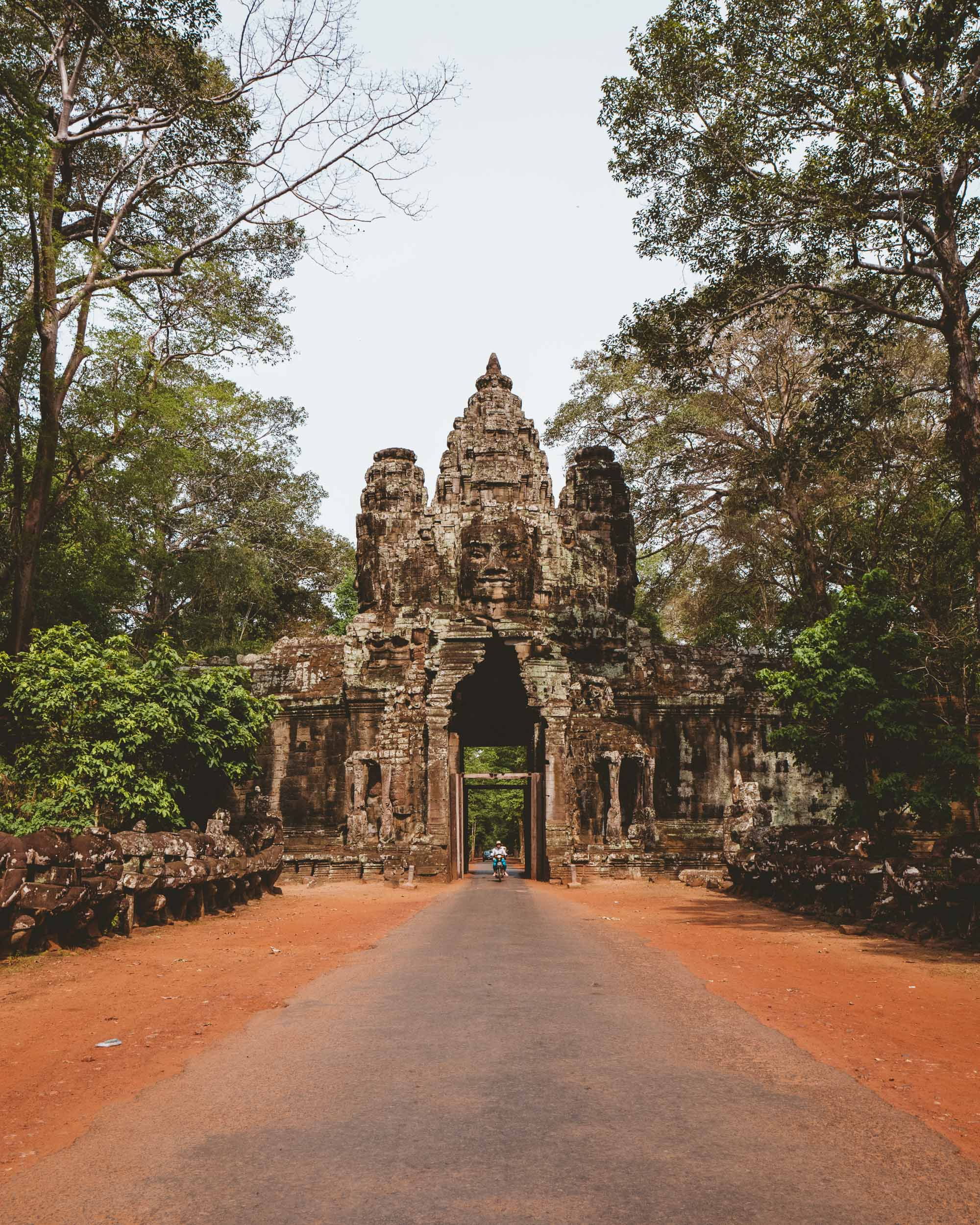 Bayon temple entrance in Angkor Wat Cambodia