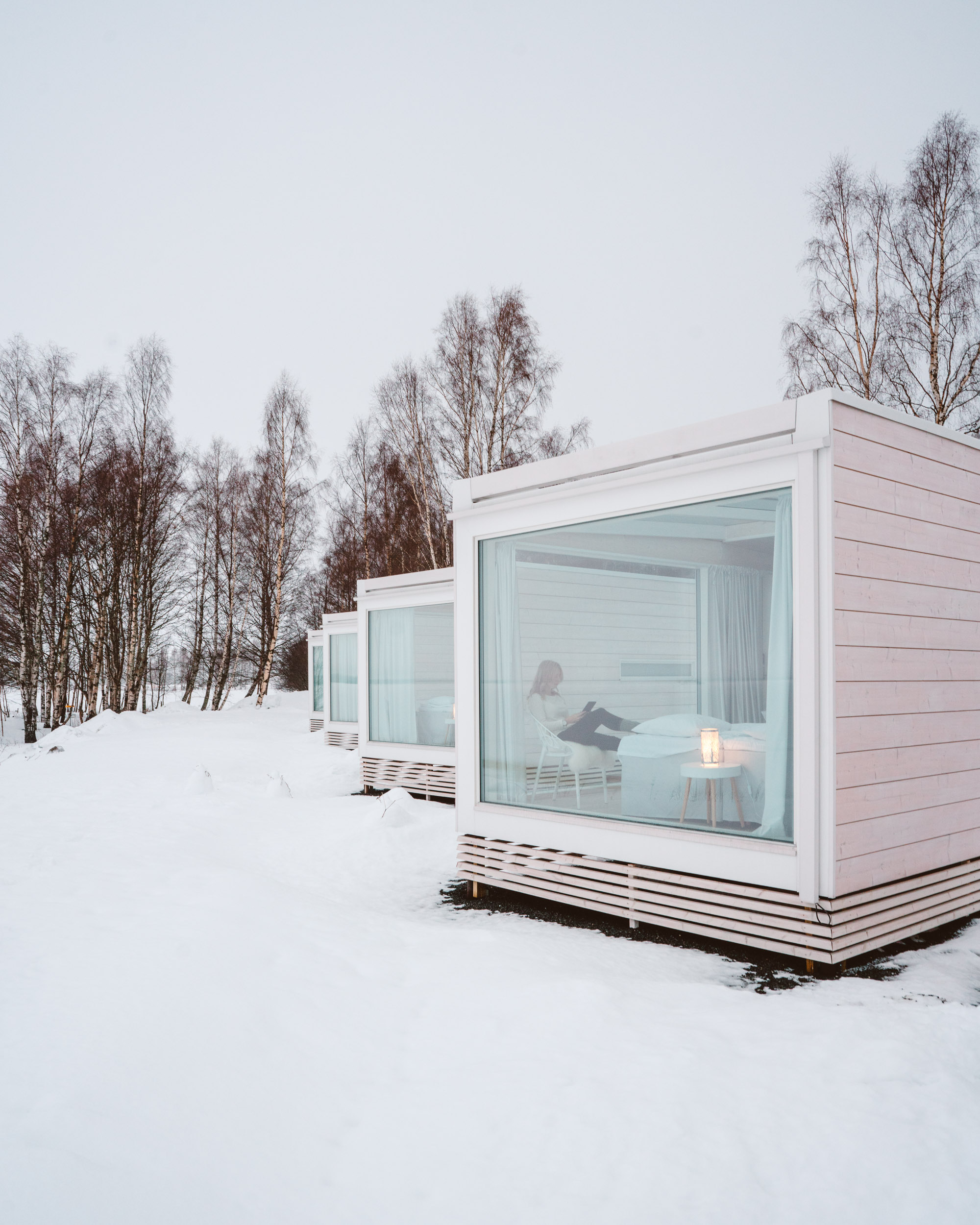 Glass hotel in Kemi, Lapland with snow in winter in Finland edited with Find Us Lost Presets