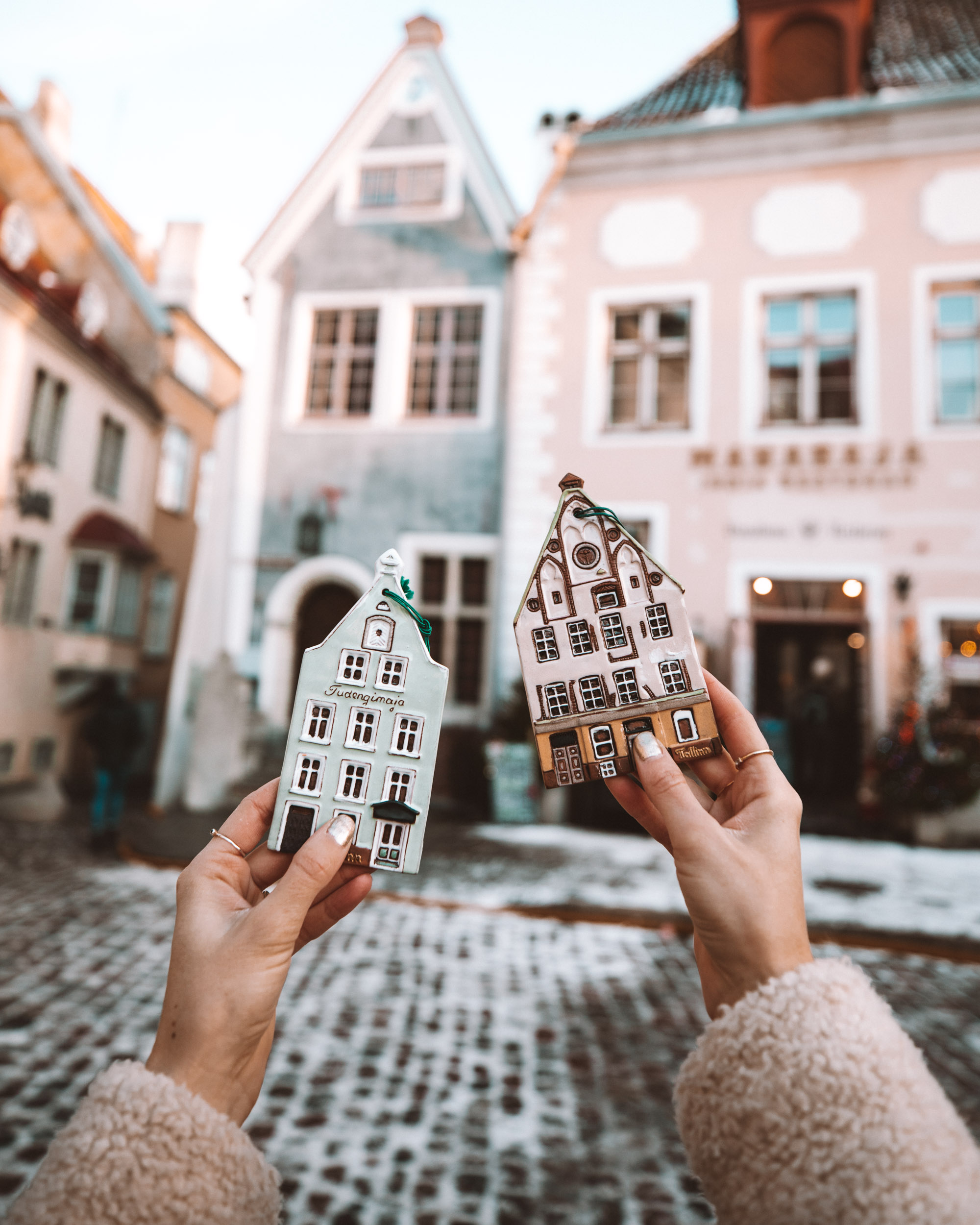 Pastel houses from the Tallinn Christmas Market in Estonia in winter