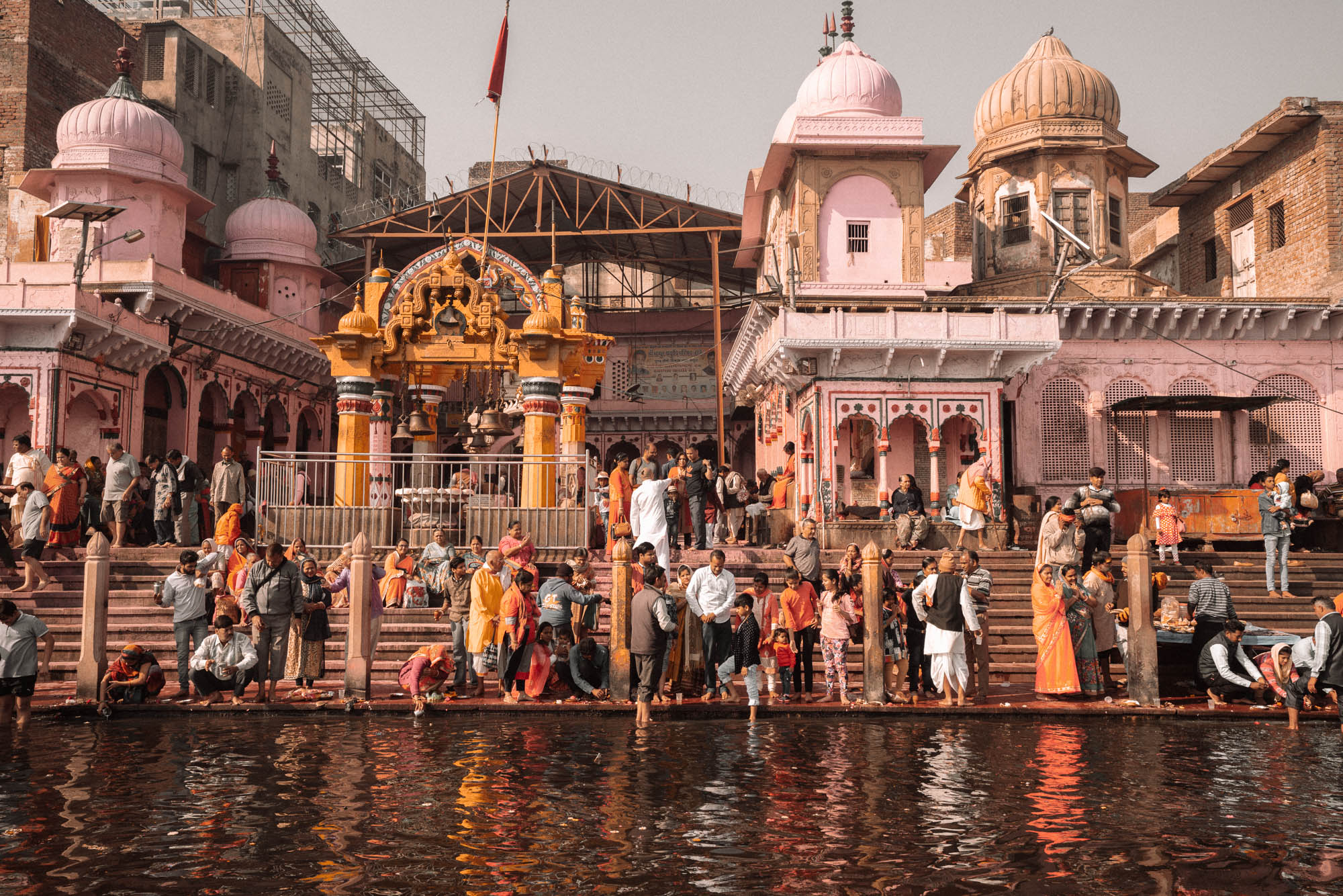 View of Mathura, India riverbank during Holi festival via @finduslost