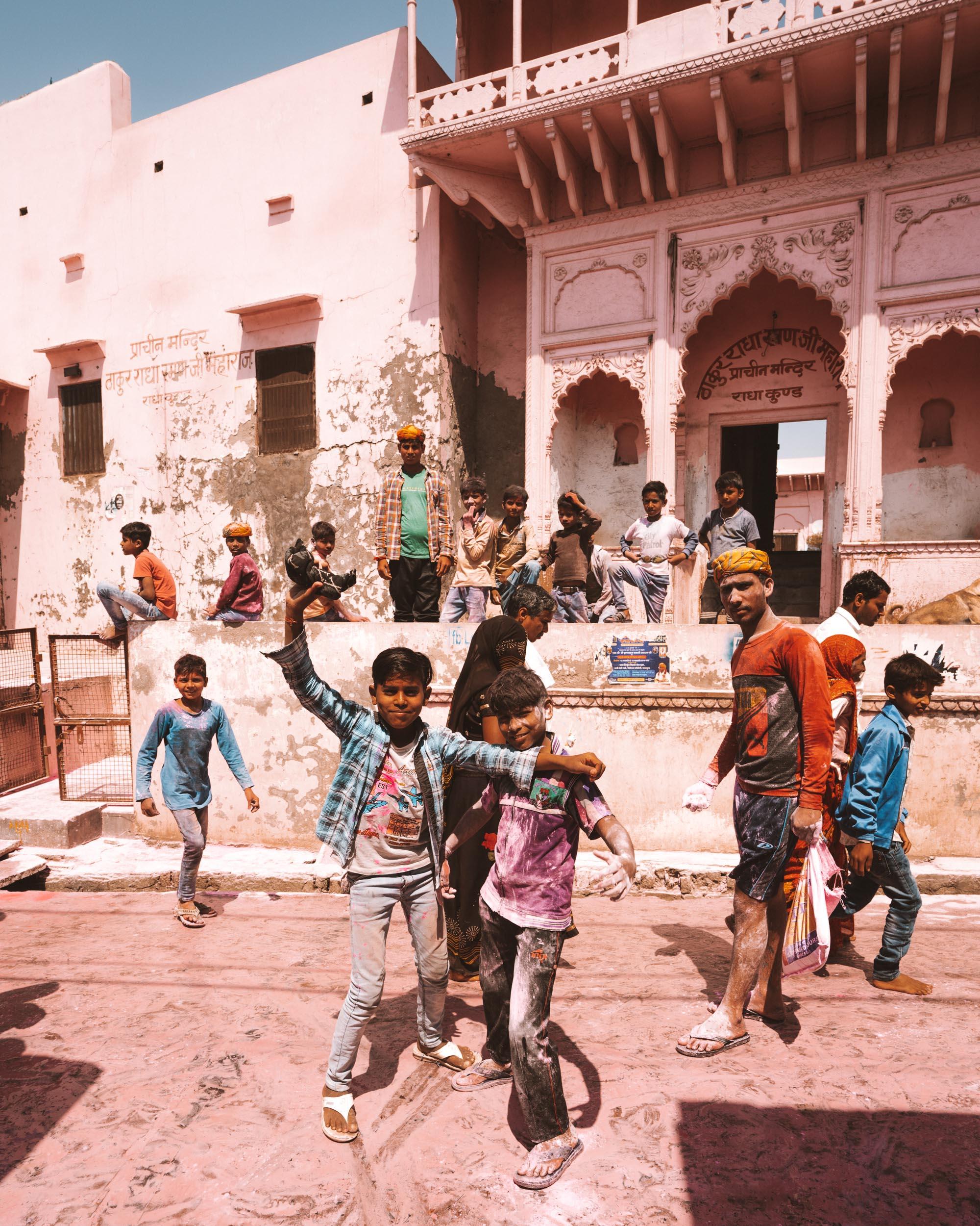 Children celebrating Holi Festival in the streets of Govardhan, India via @finduslost