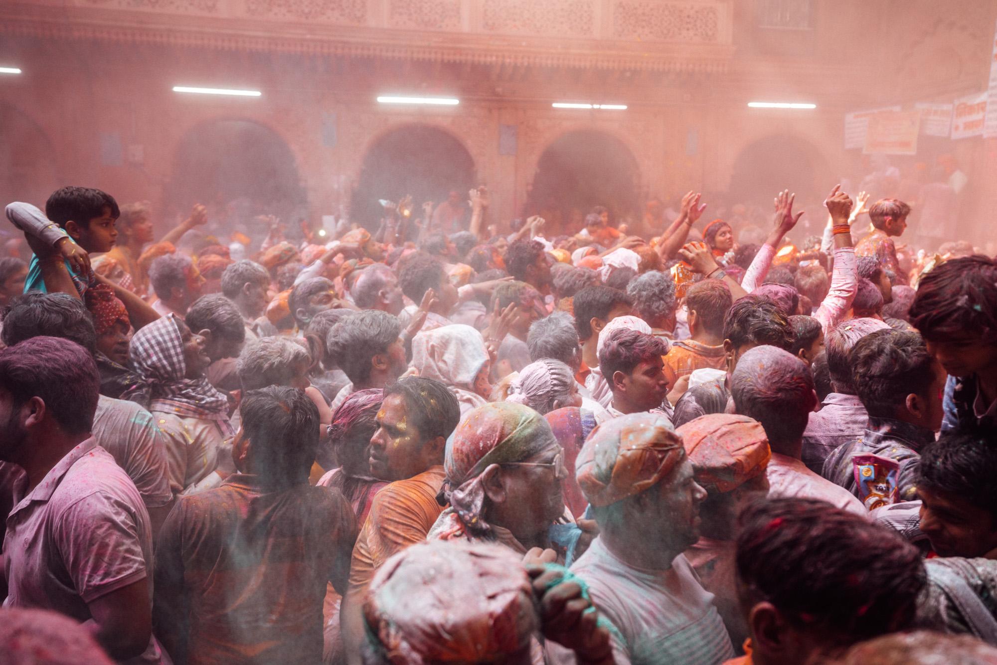 Holi festival at Banke Bihari Temple in India