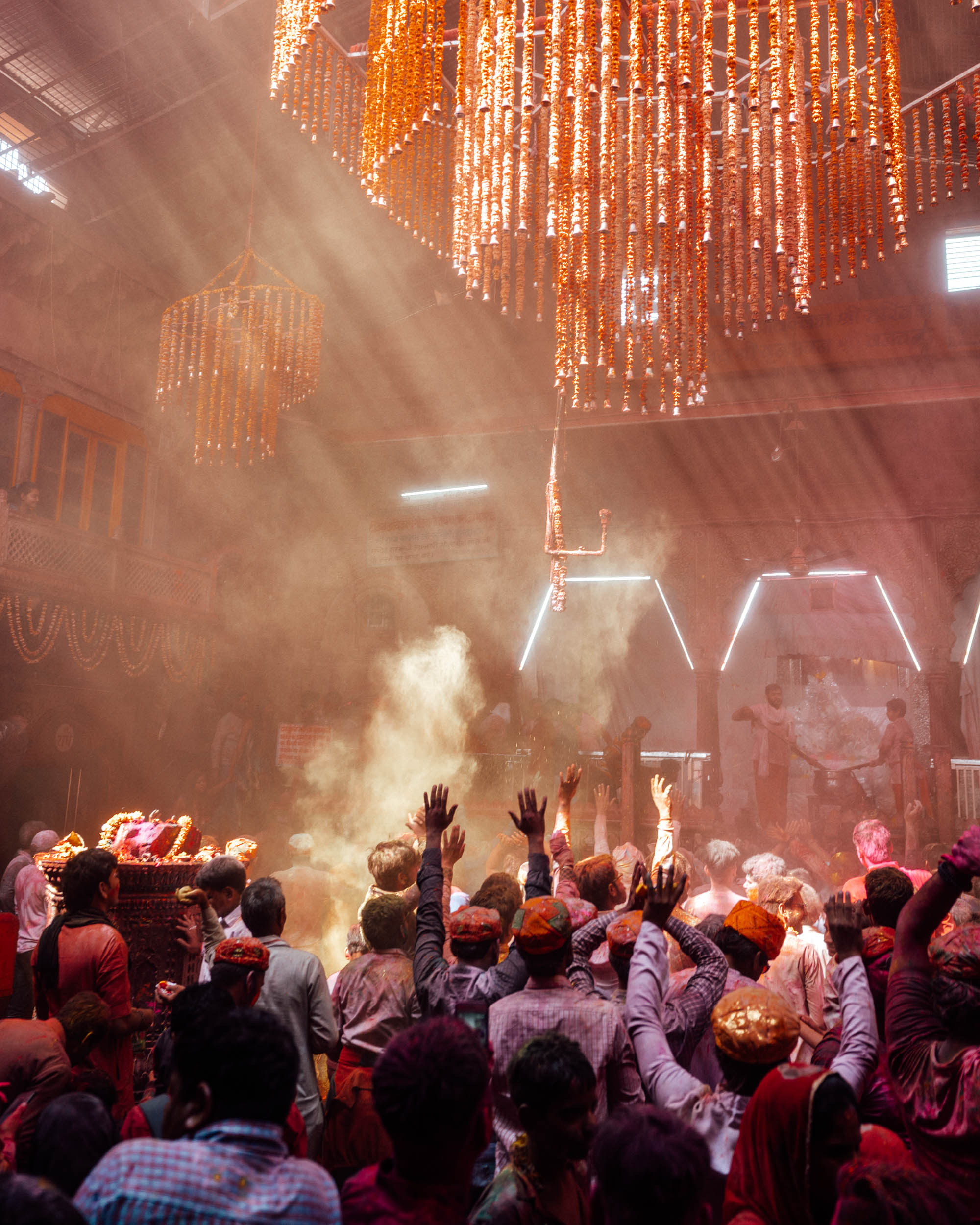 People celebrating Holi Festival with colorful powder in Vrindavan and Mathura, India via @finduslost