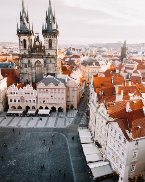 View from Astronomical Clock Tower in Prague in Old town square