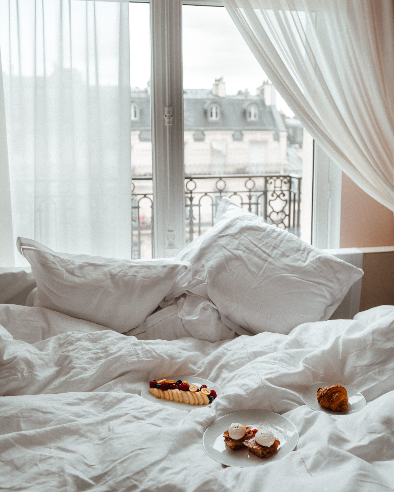Breakfast in bed at Le Royal Monceau Paris Hotel
