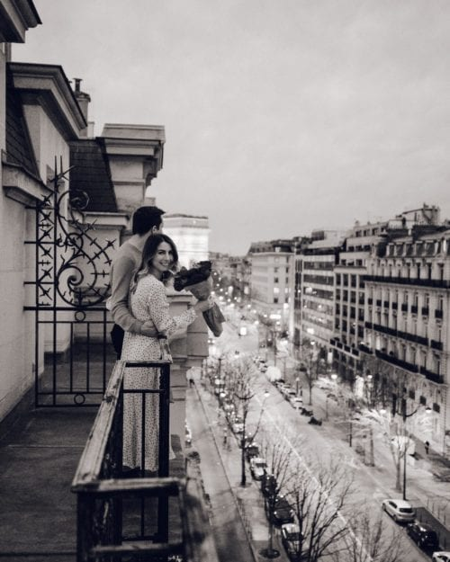 Sunset from our balcony at Le Royal Monceau Hotel in Paris for Valentine's Weekend