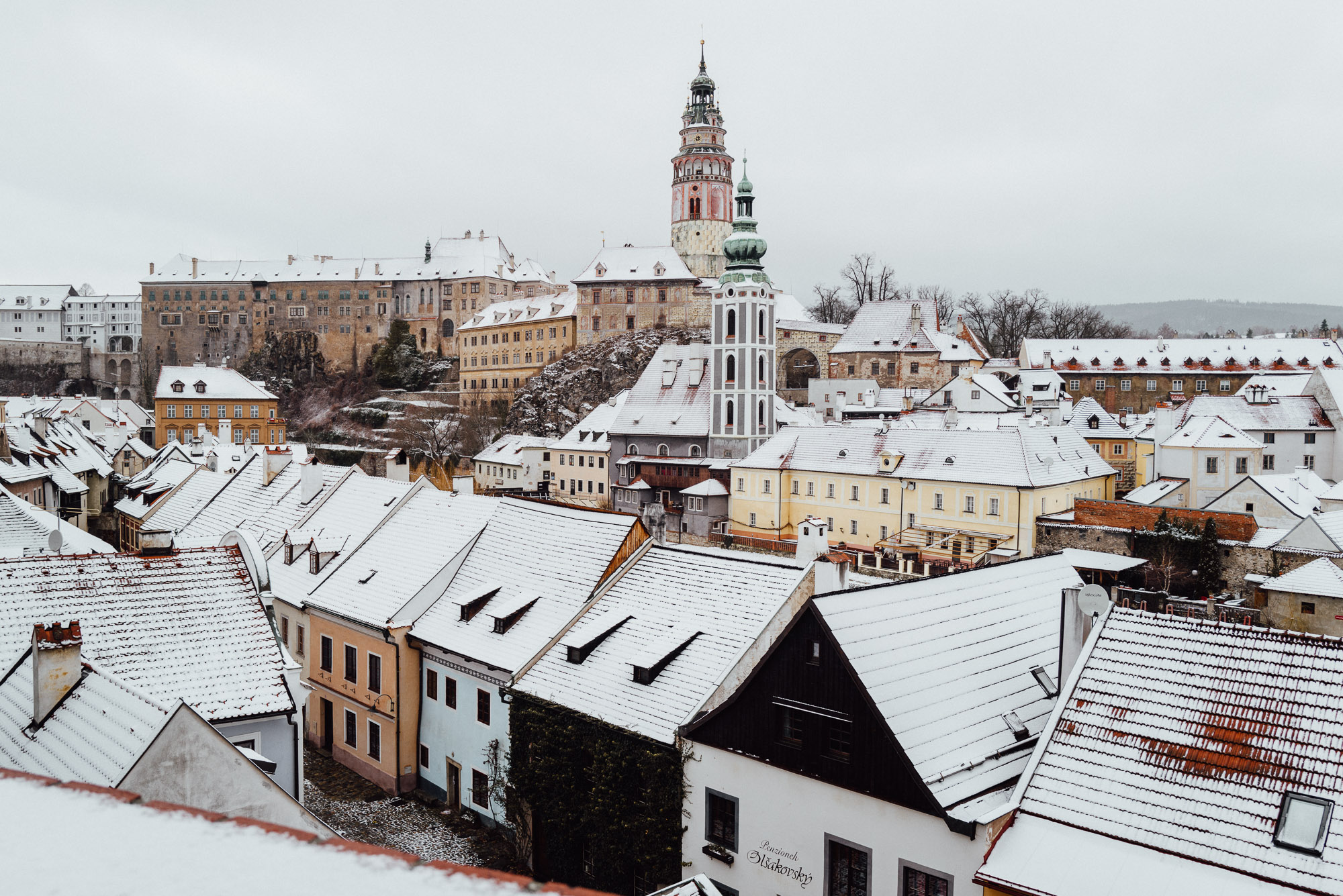 Main view of Cesky Krumlov in town