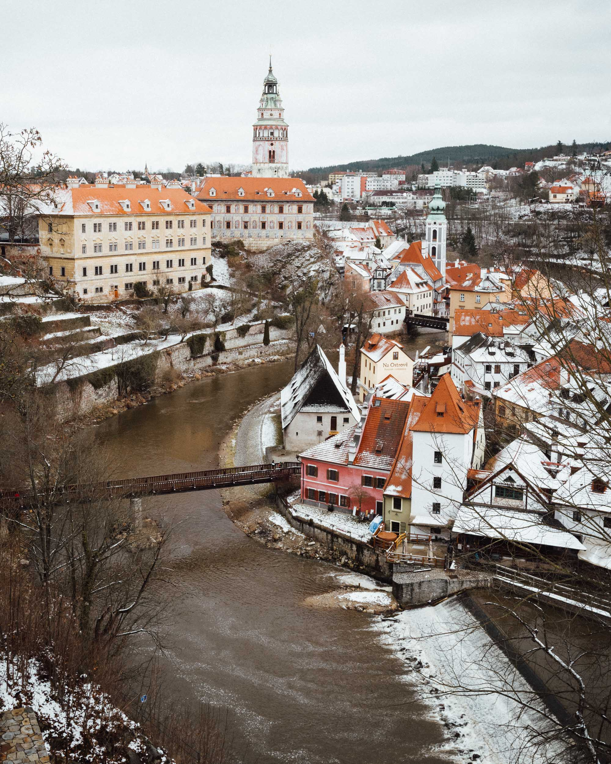 View of Cesky Krumlov river from Cesky Krumlov Castle grounds in Czech Republic