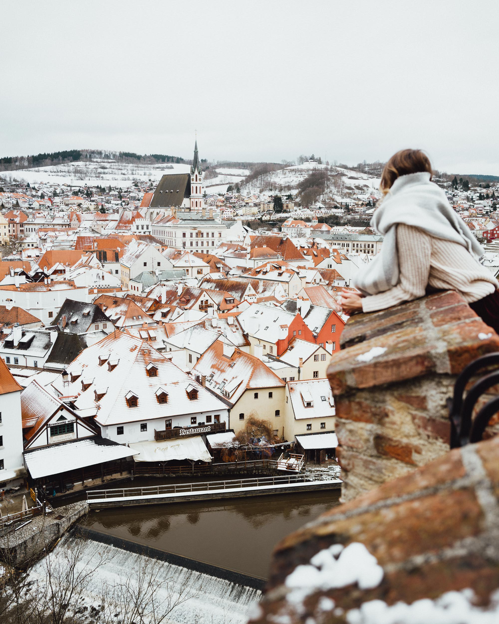 Cesky Krumlov view from Cesky Castle grounds in Czech Republic